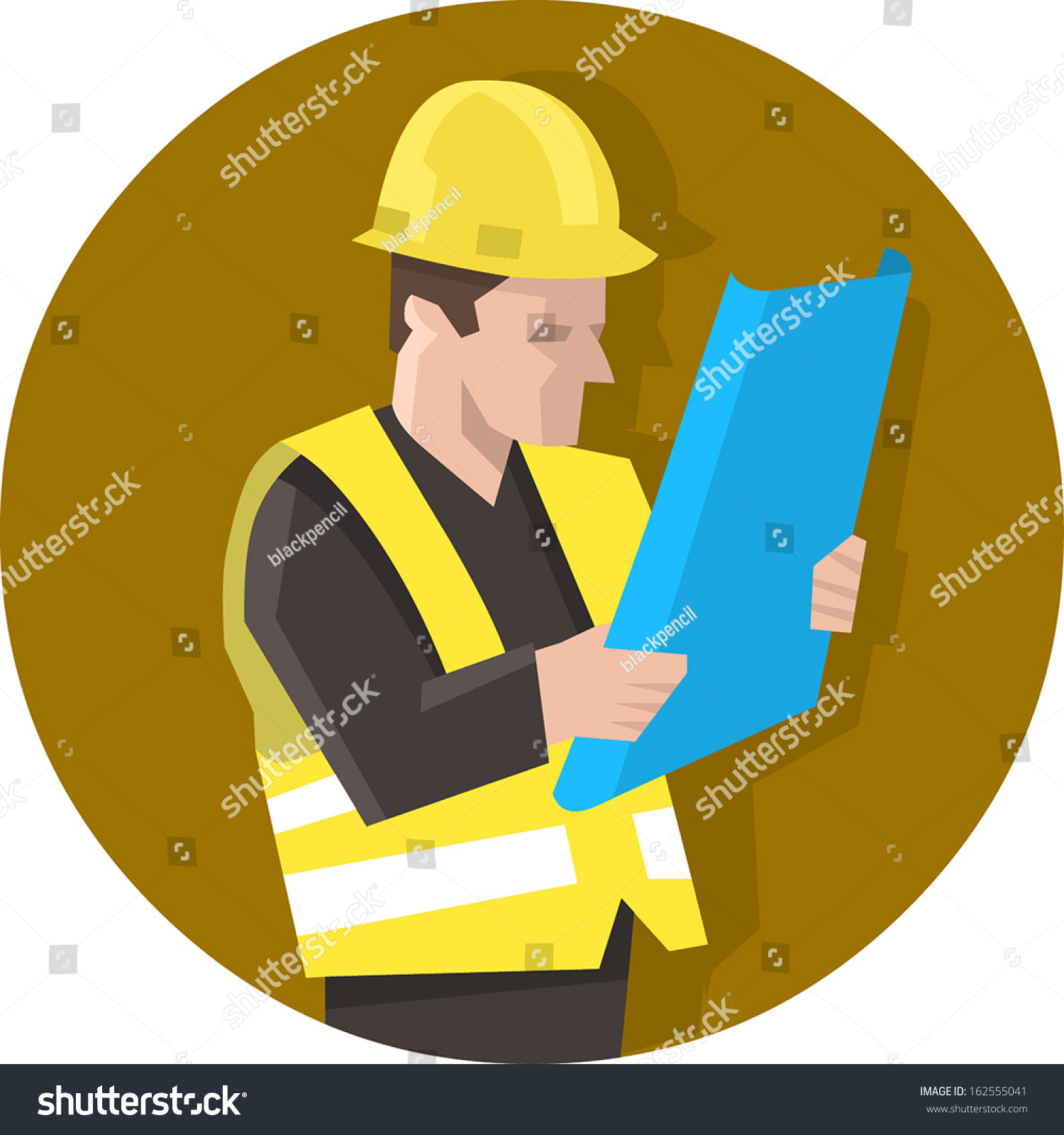 Construction Worker In Safety Vest Reading Blueprint Plan Isolated Vector Illustration