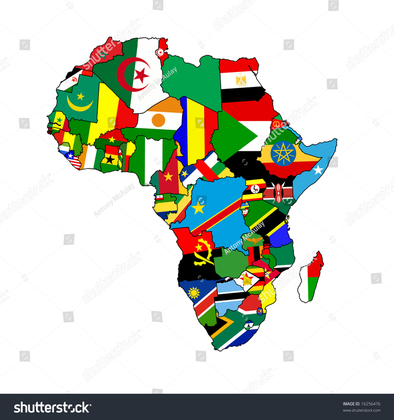 continent africa made country shaped flags stock illustration