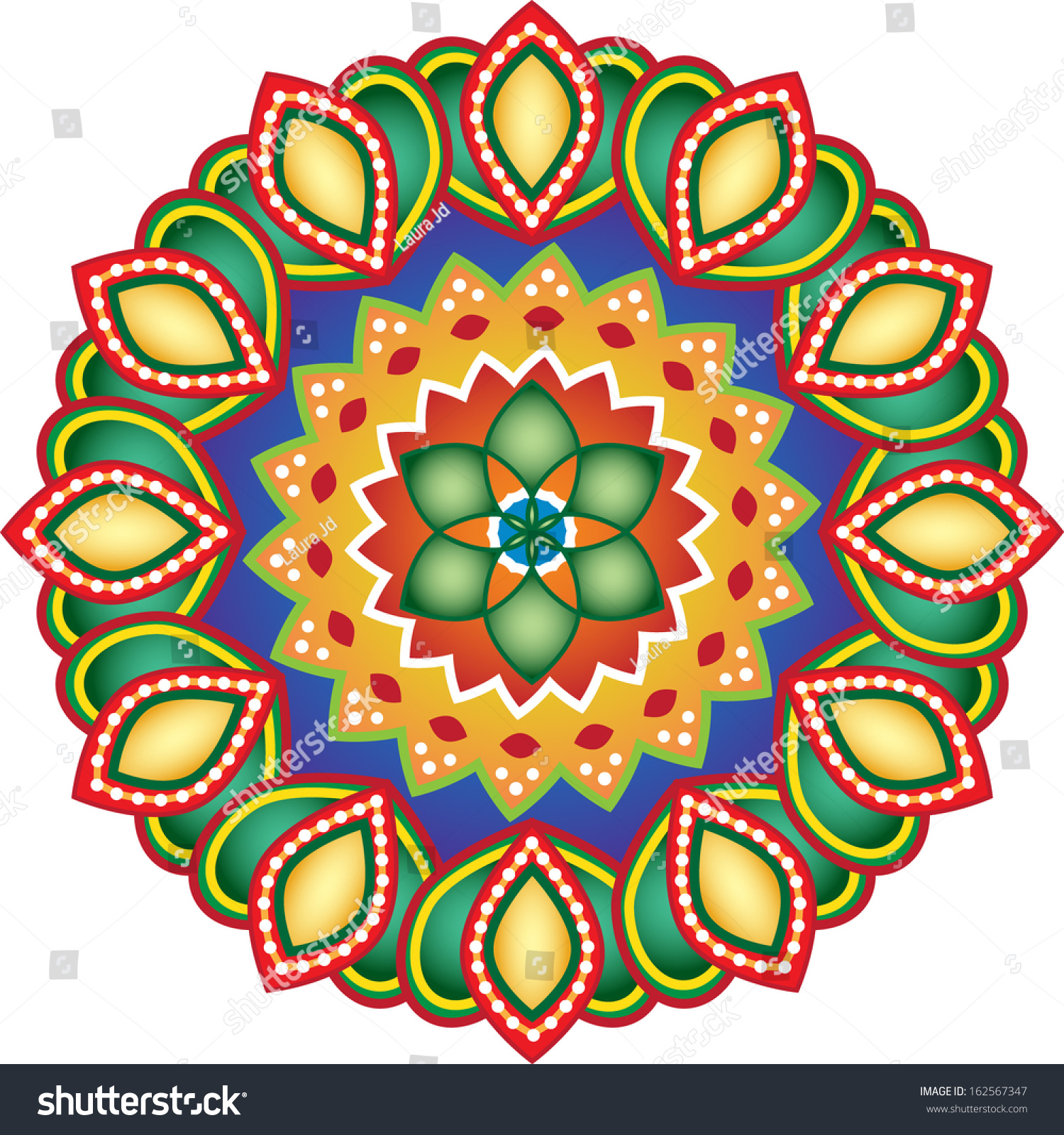 rangoli design stock vector illustration 162567347