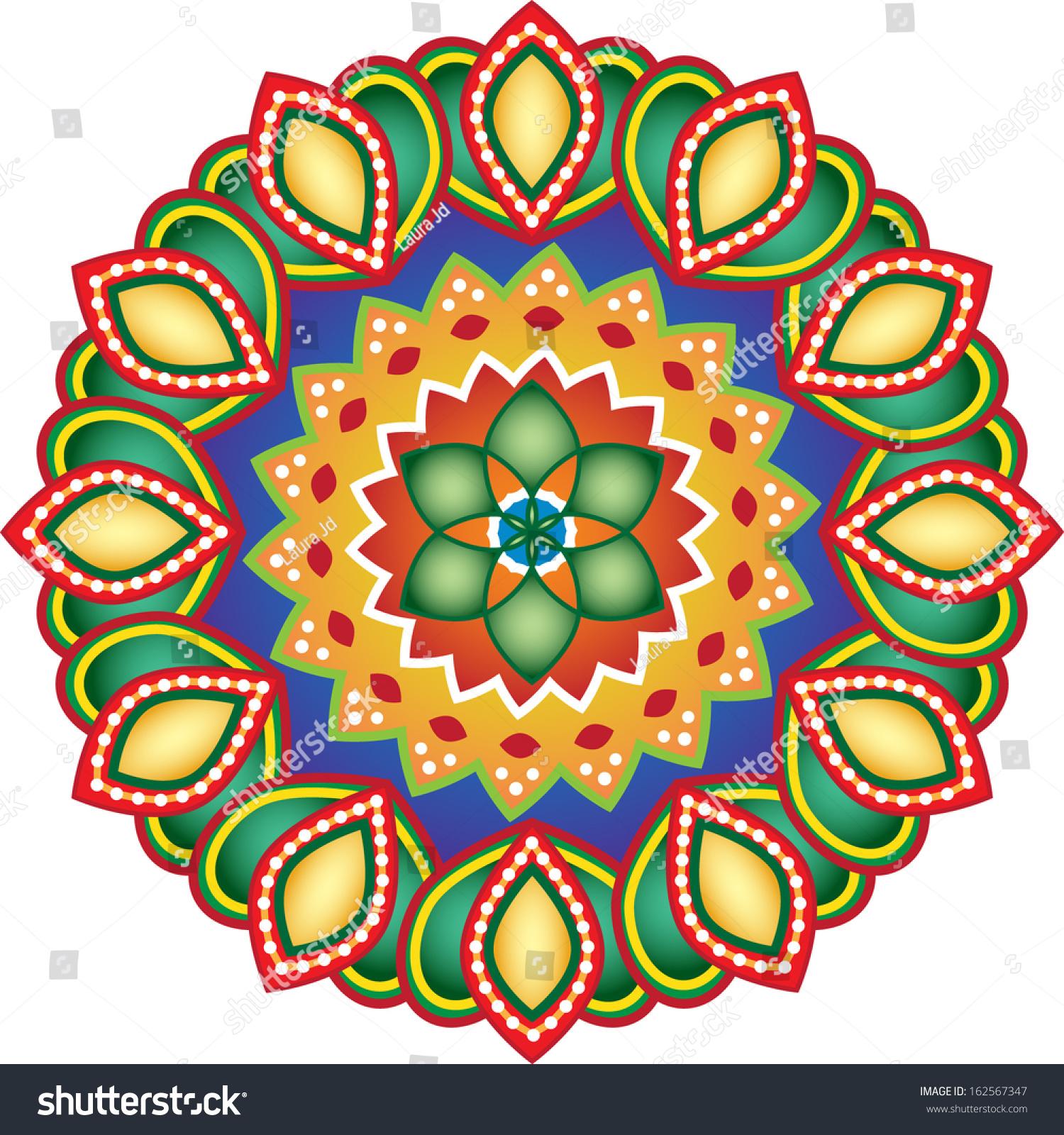 Rangoli Design Stock Vector 162567347 Shutterstock