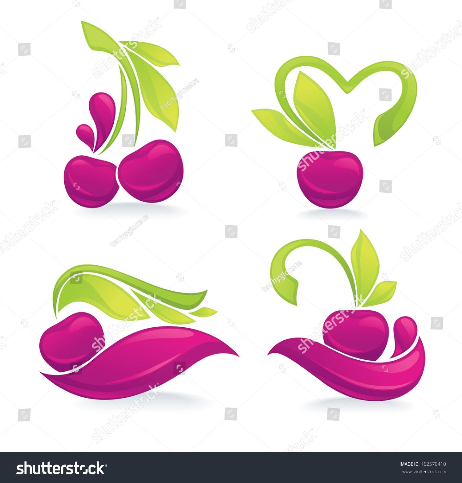 vector collection juice cherry symbols stock vector 162570410