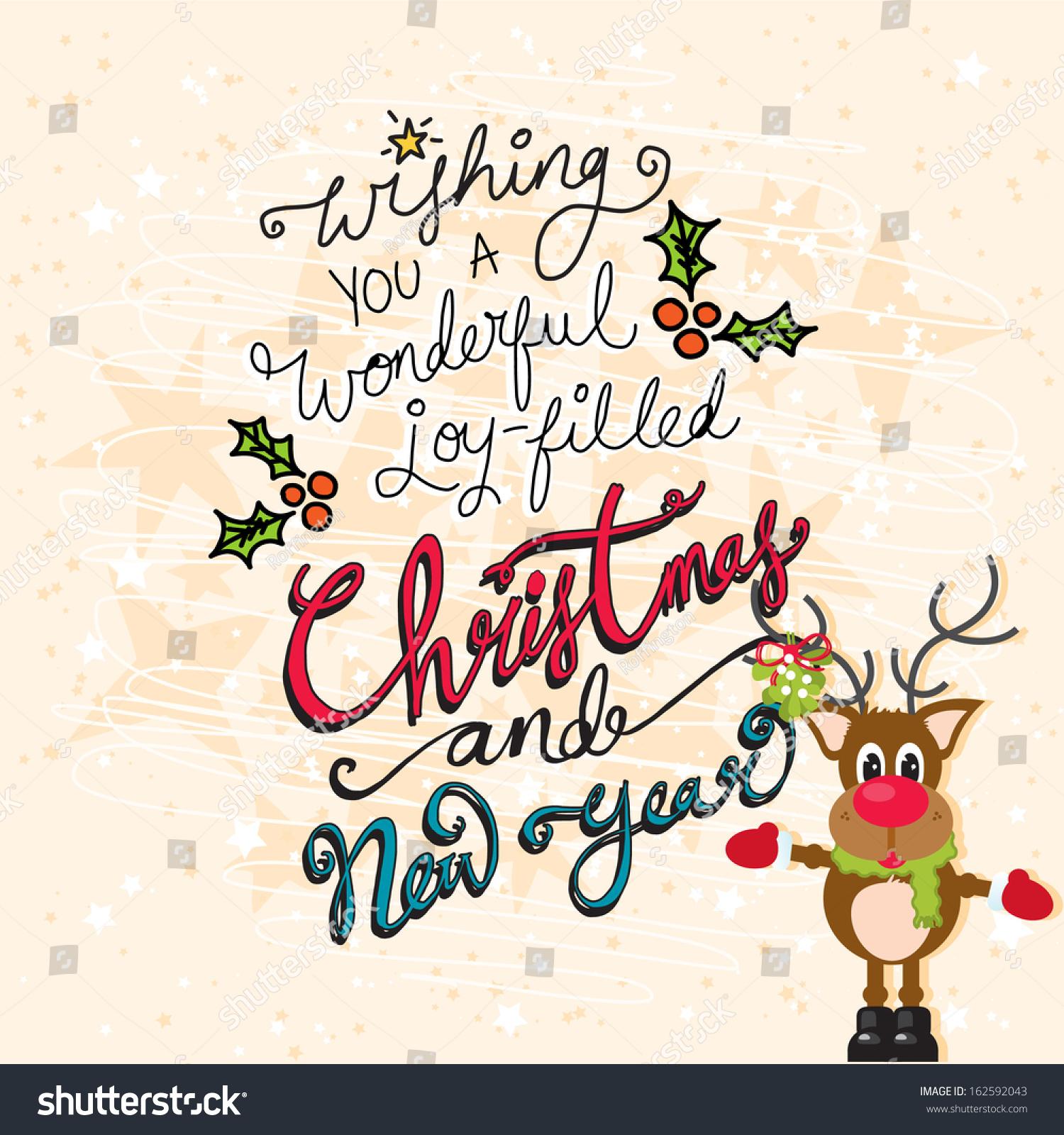 Christmas New Year Reindeer On Cream Stock Vector (Royalty Free ...