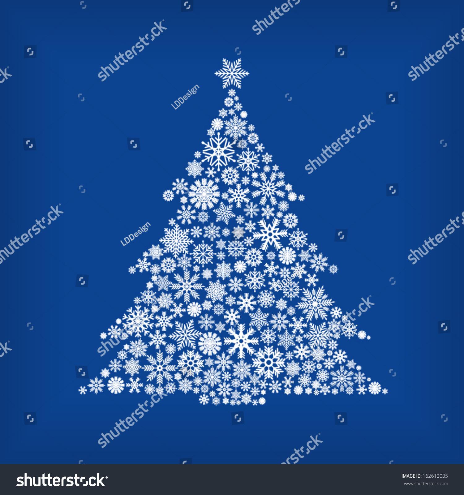 Christmas Tree Snowflakes Blue