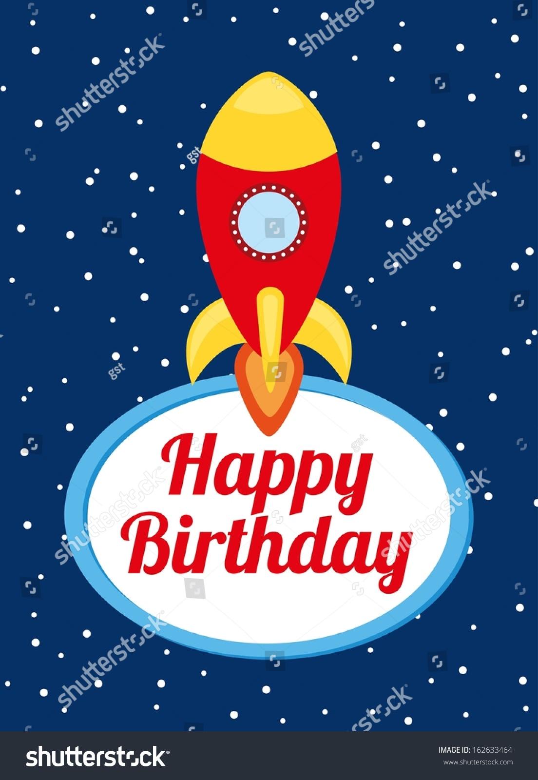 Happy Birthday Design Over Space Background Vector