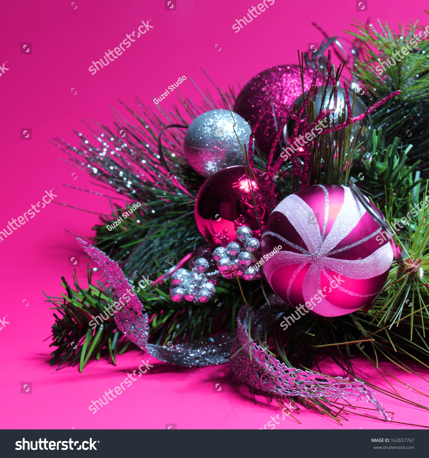 Hot pink christmas tree decorations - Christmas Decoration Hot Pink And Silver Balls On Christmas Tree Branch Over Magenta Background Preview Save To A Lightbox
