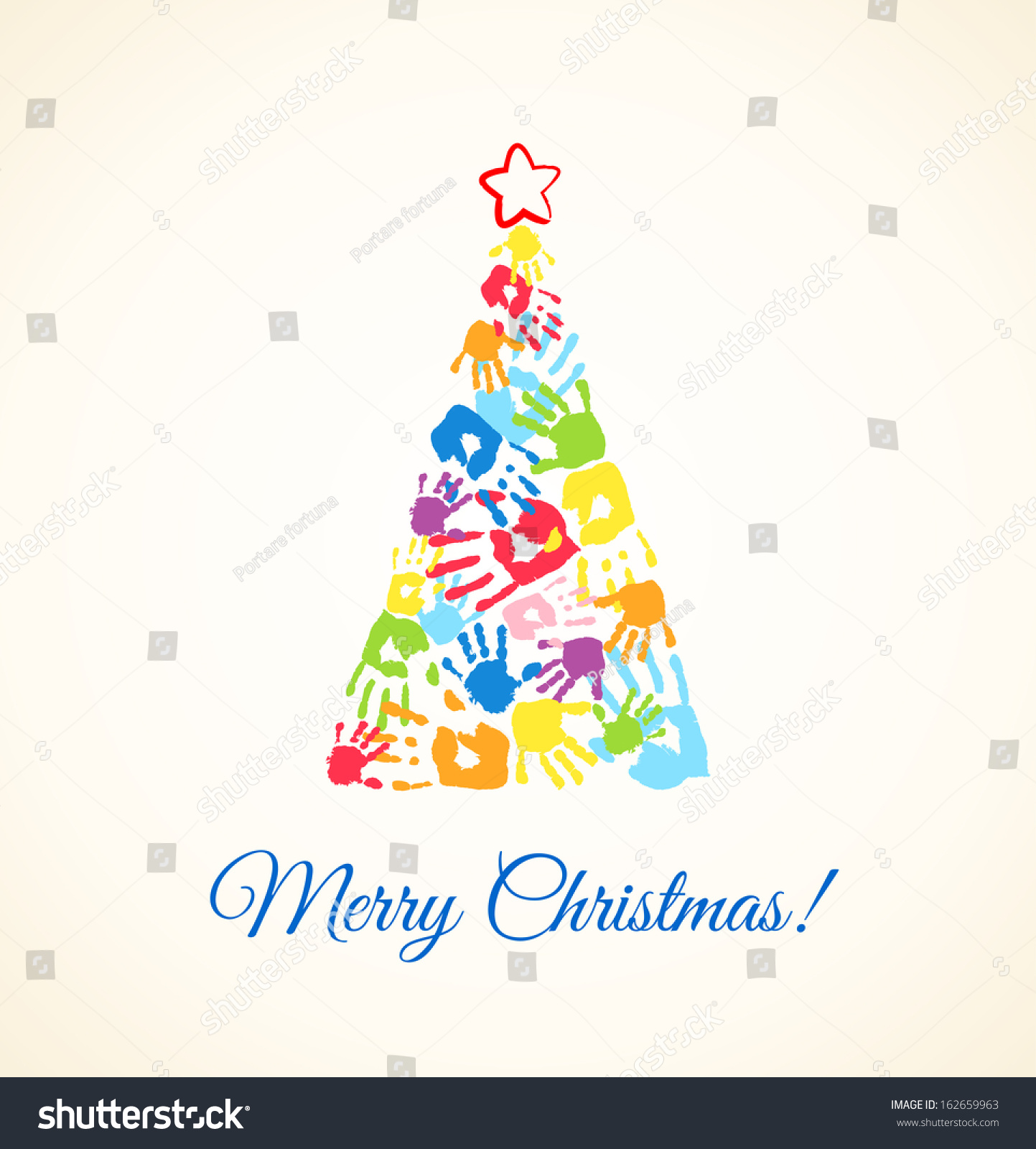 colorful christmas tree made handprints father stock vector