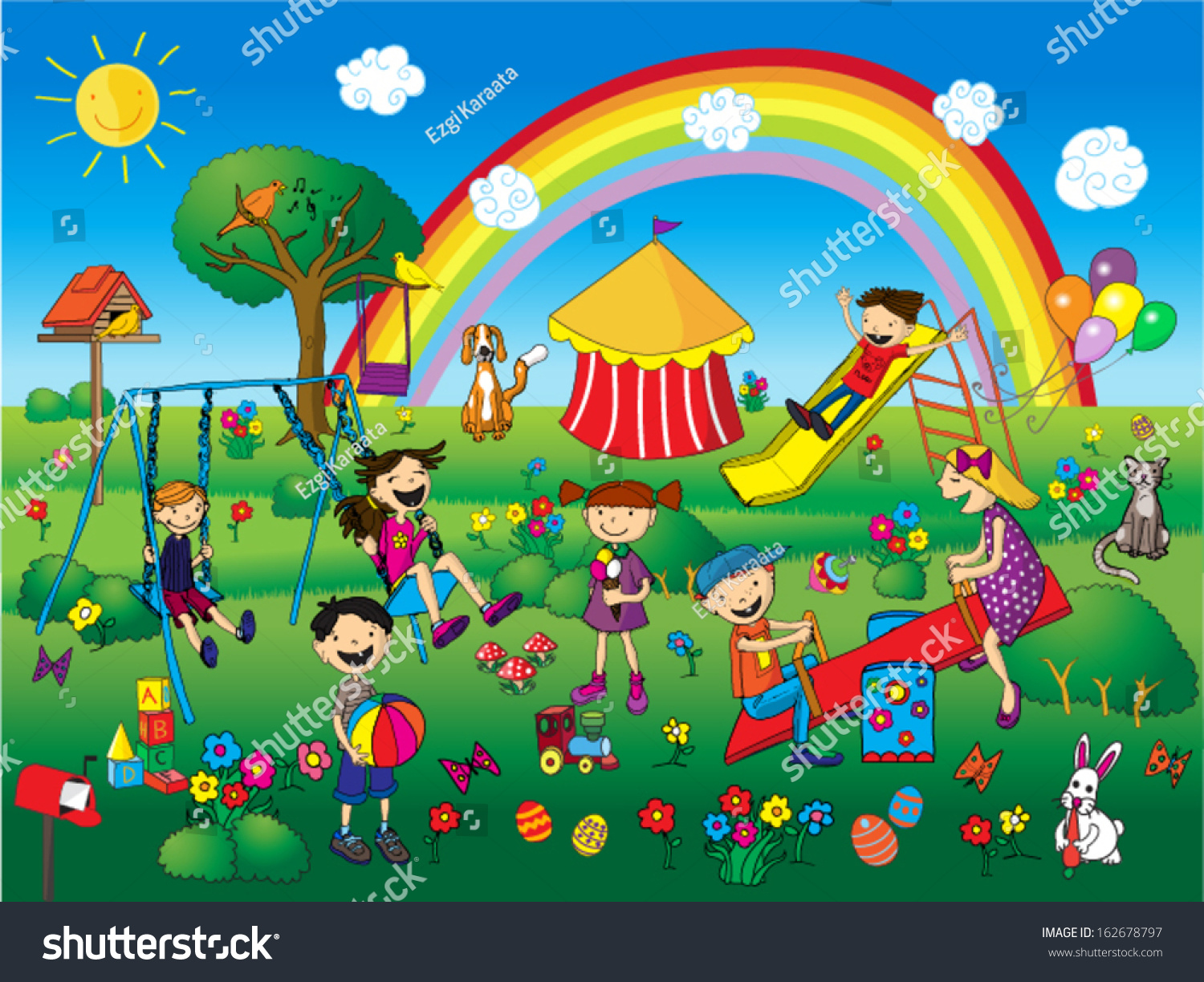 children playing park stock vector 162678797