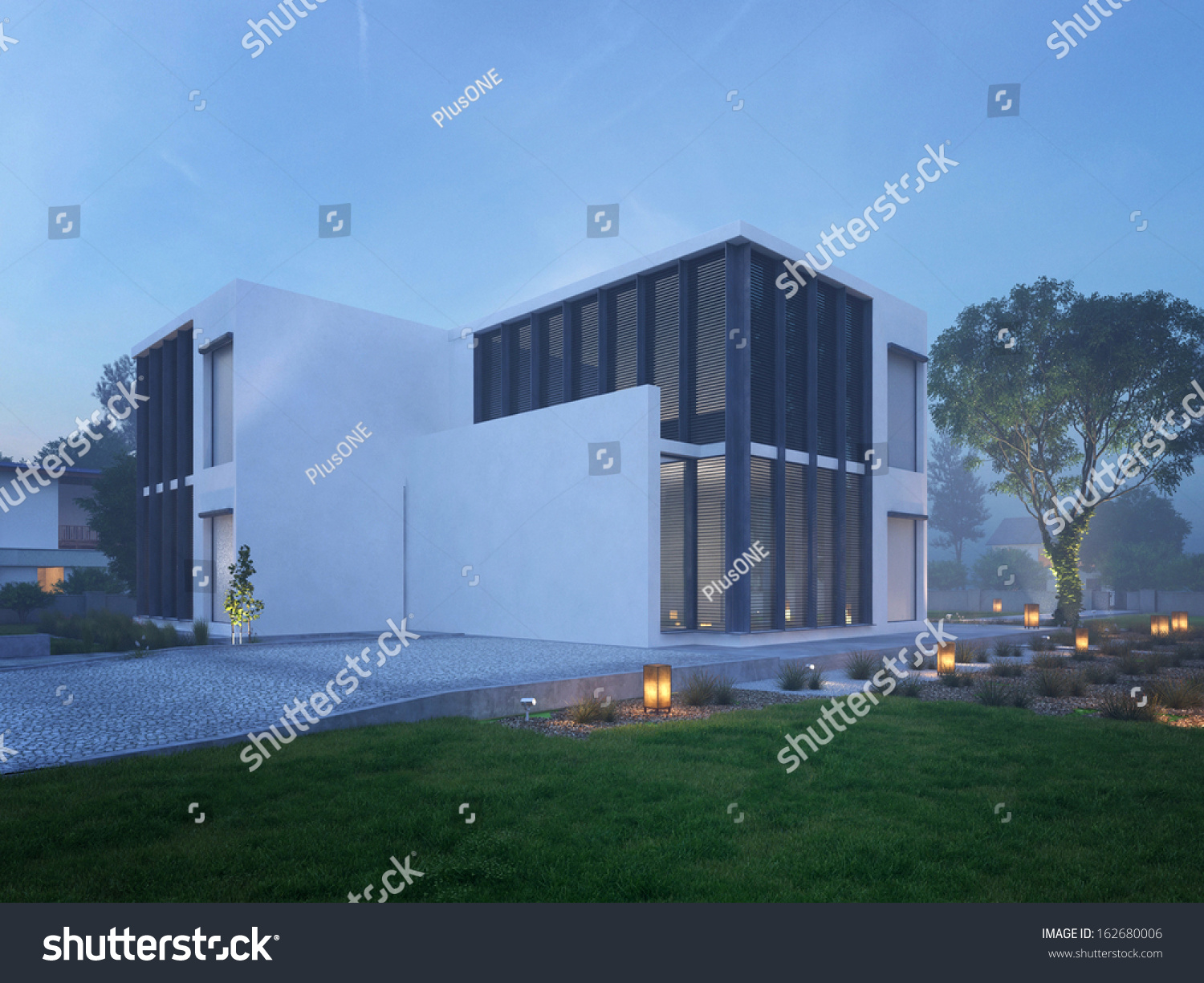 Modern House Exterior Outdoor Lighting Twilight Stock