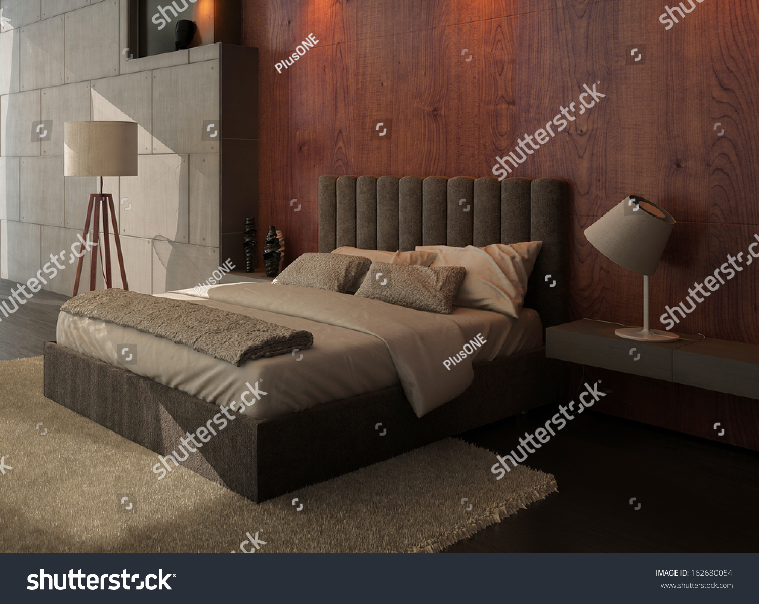 Modern Design Bedroom Interior Kingsize Bed Stock
