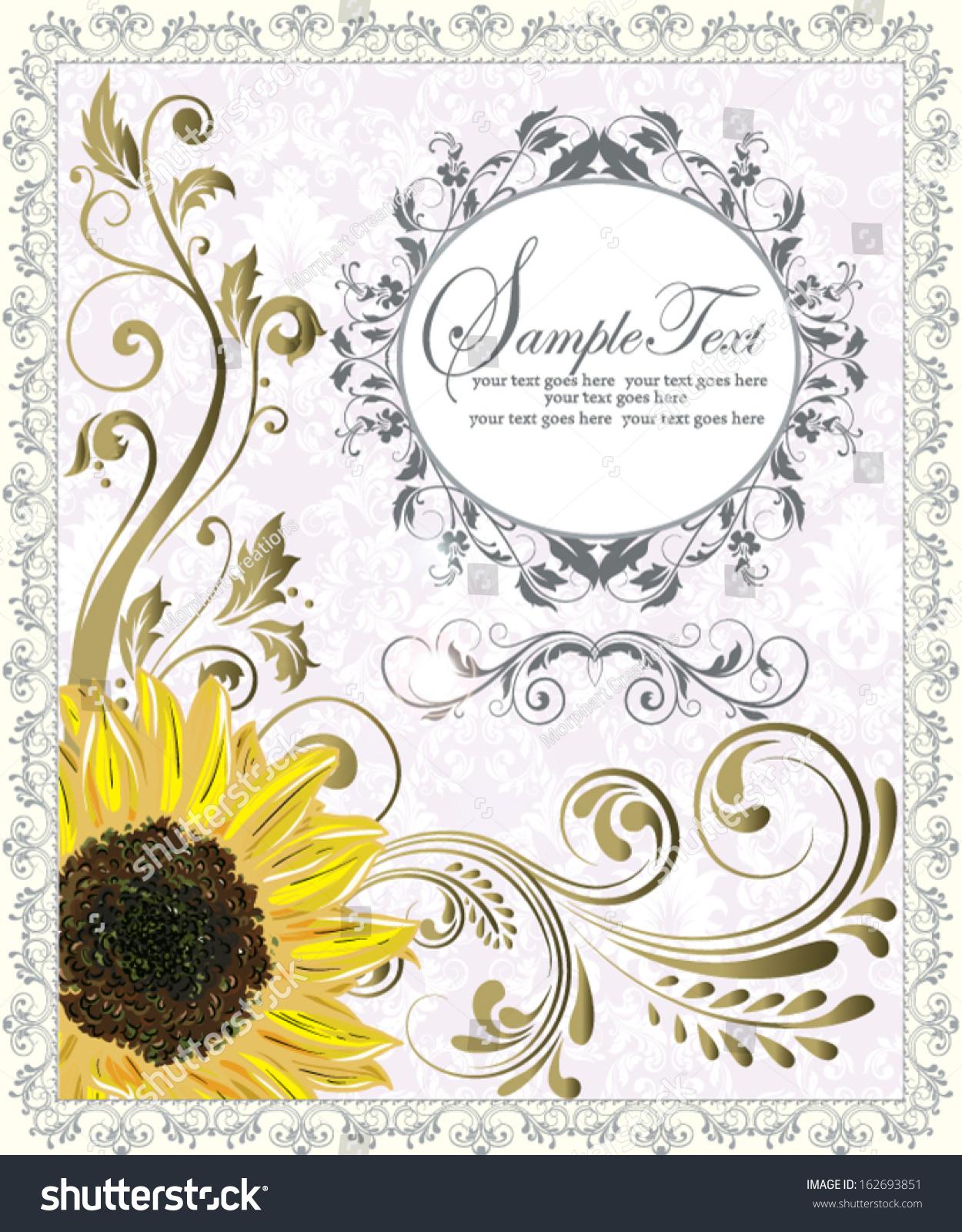 Sunflower Wedding Invitation Stock Vector (Royalty Free) 162693851 ...