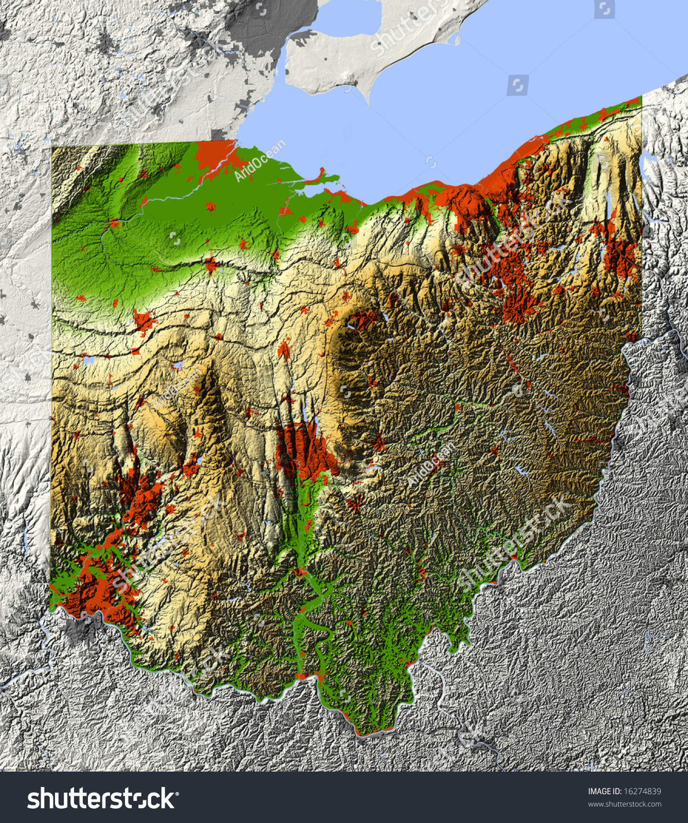 Ohio Shaded Relief Map Shows Major Stock Illustration