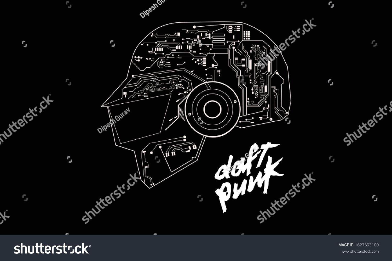 Daft Punk Logo Line Art Stock Vector Royalty Free 1627593100