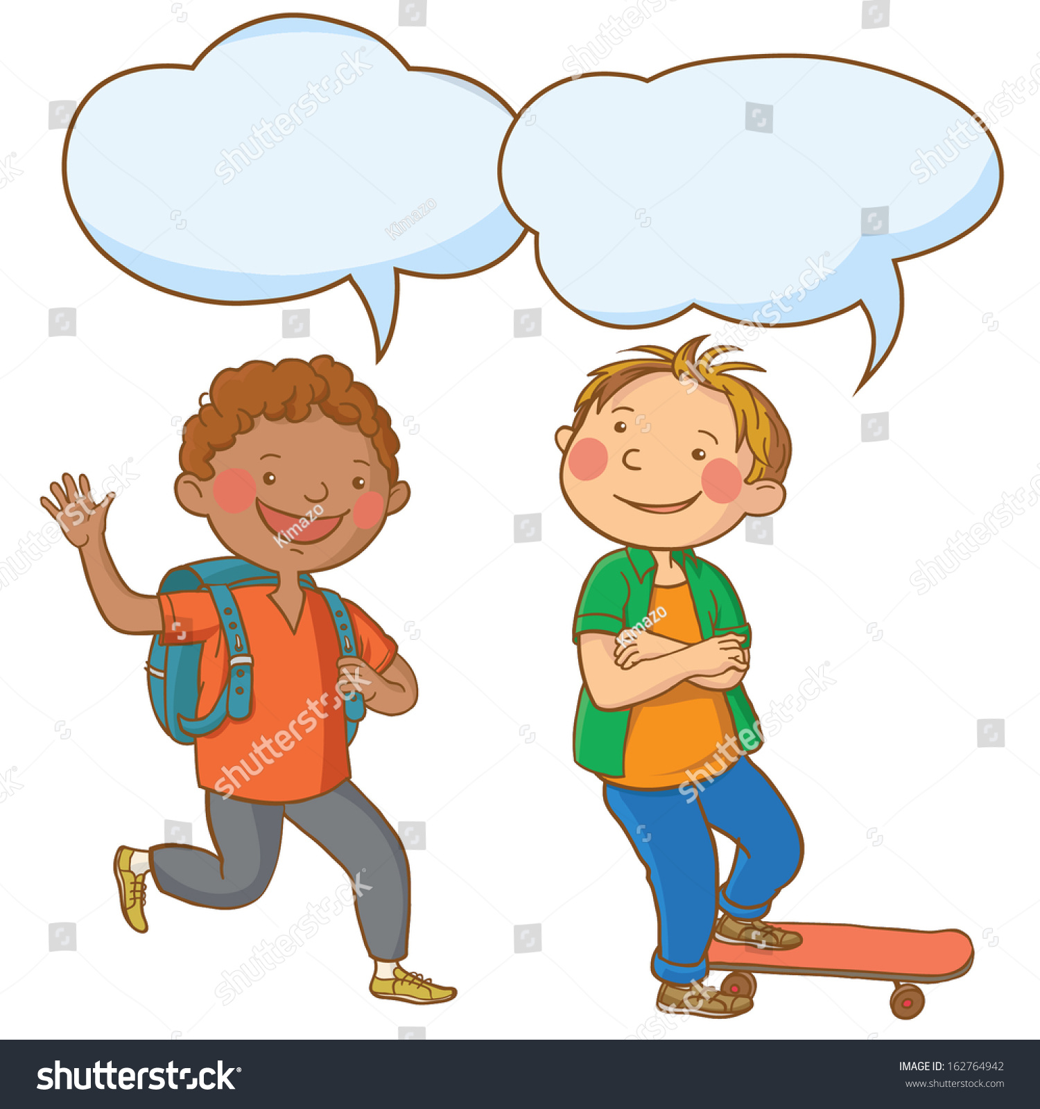 two boys talking together speech bubble stock vector