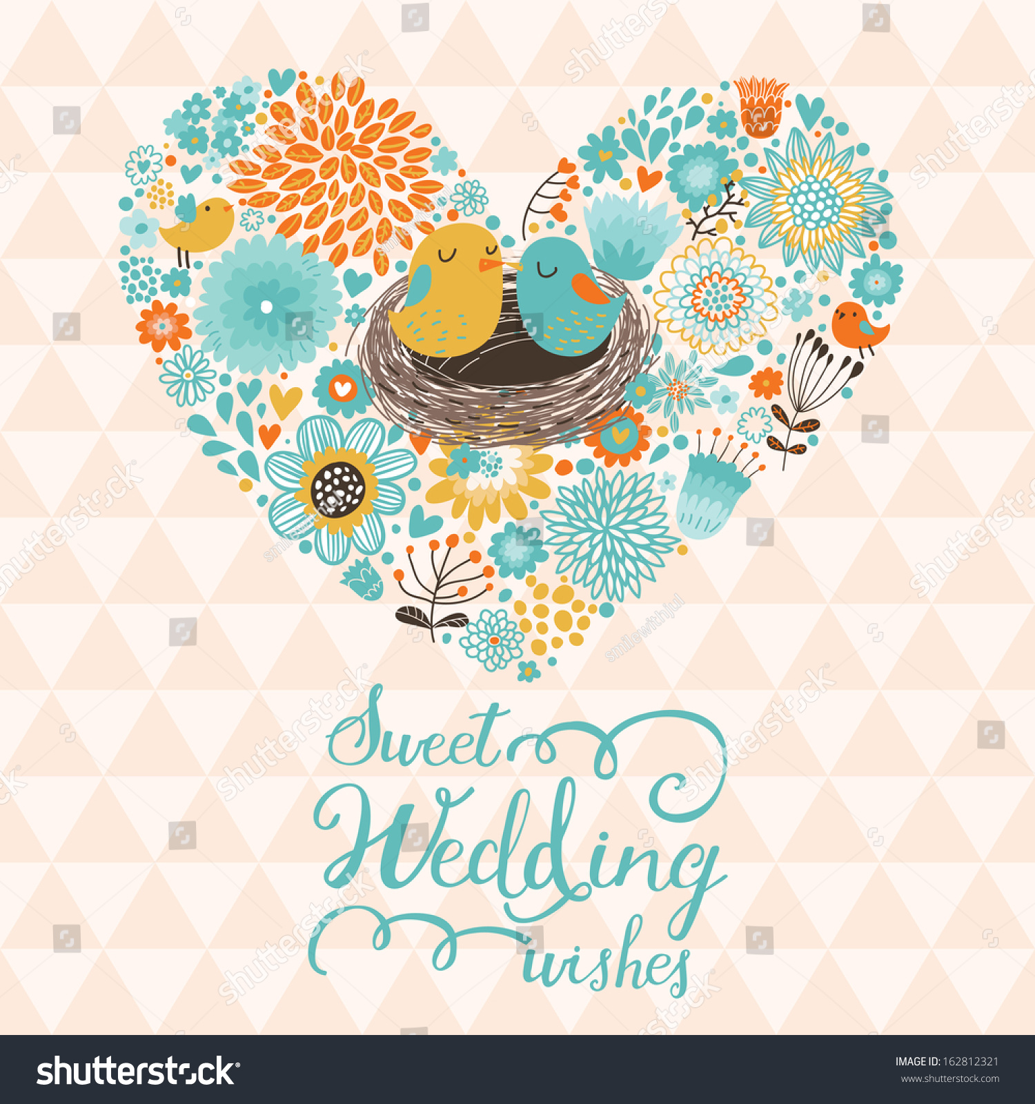 sweet wedding wishes cute save date stock vector 162812321
