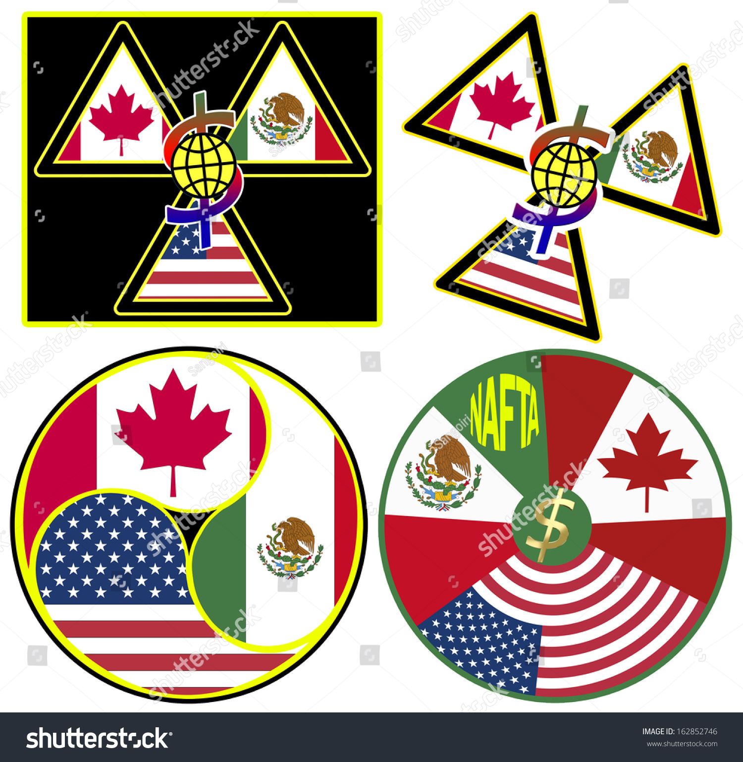 Set Nafta Symbols North American Free Stock Illustration 162852746