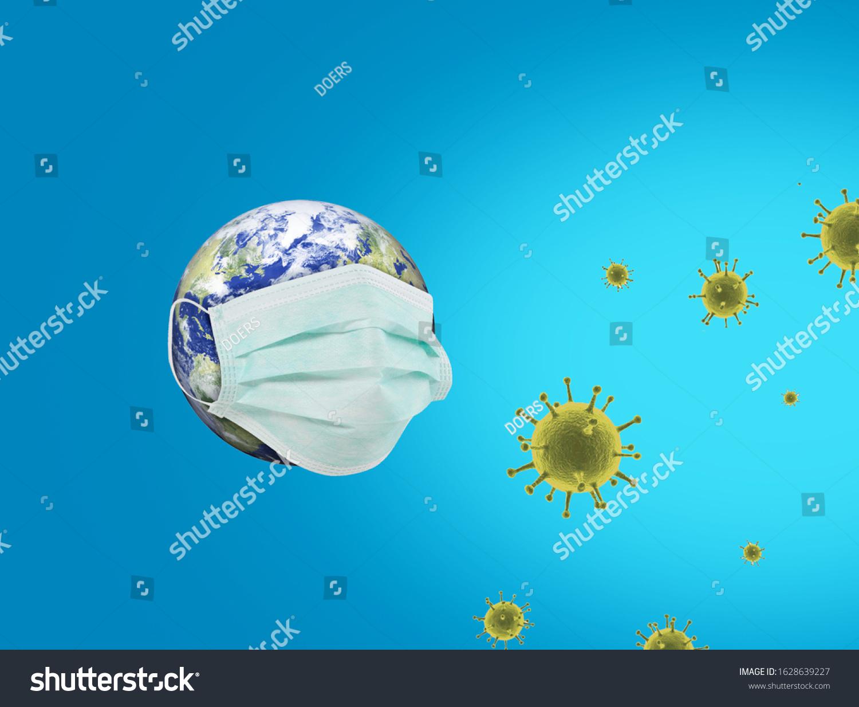 Coronavirus or Corona virus concept. world or earth put mask to fight against Corona virus. Concept of fight against COVID19 virus. Coronavirus outbreak and coronaviruses influenza background. #1628639227