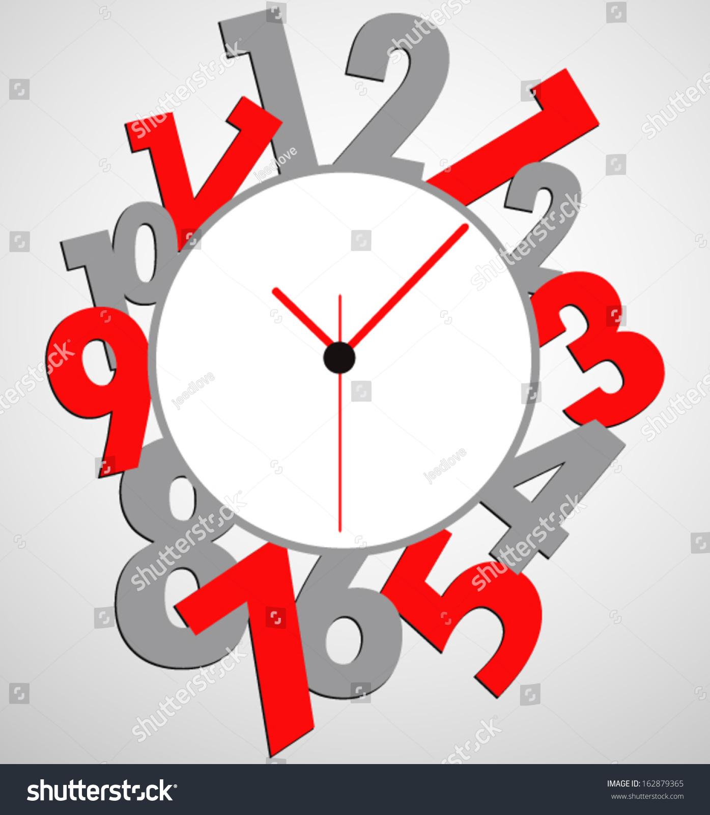 Creative Clock Design Colorful Stock Vector Illustration