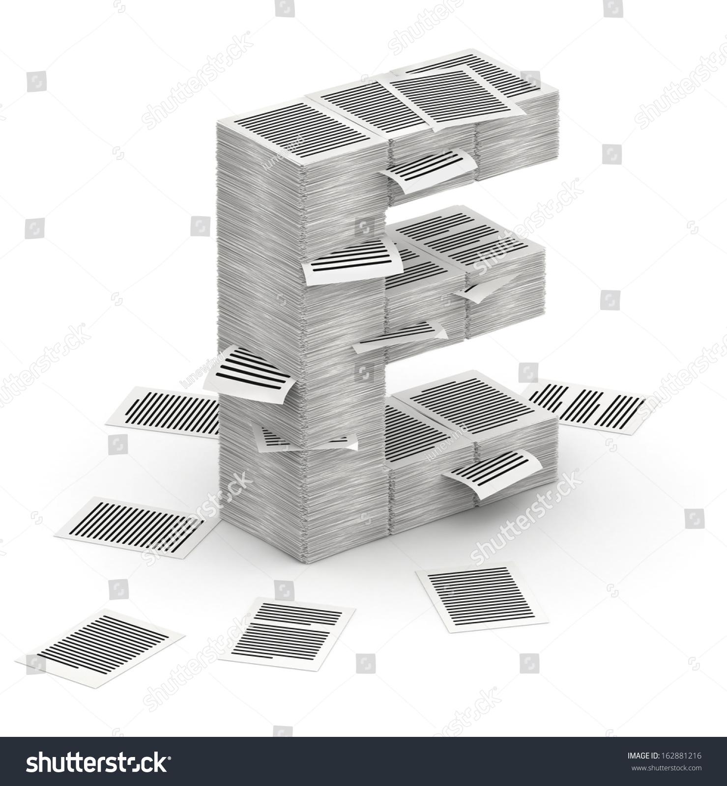 D Isometric Letter E Made Stacks Stock Illustration