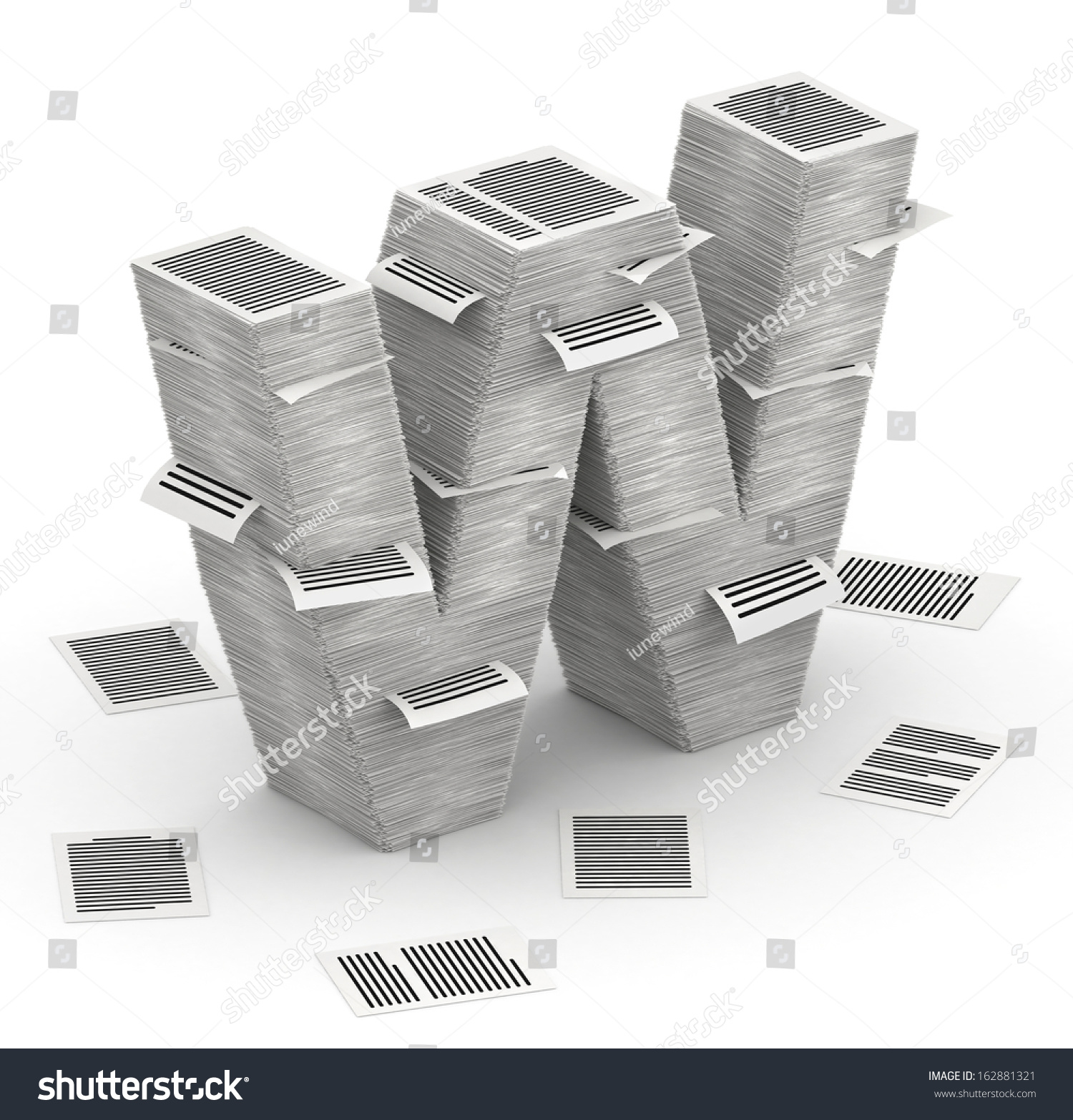 D Isometric Letter W Made Stacks Stock Illustration