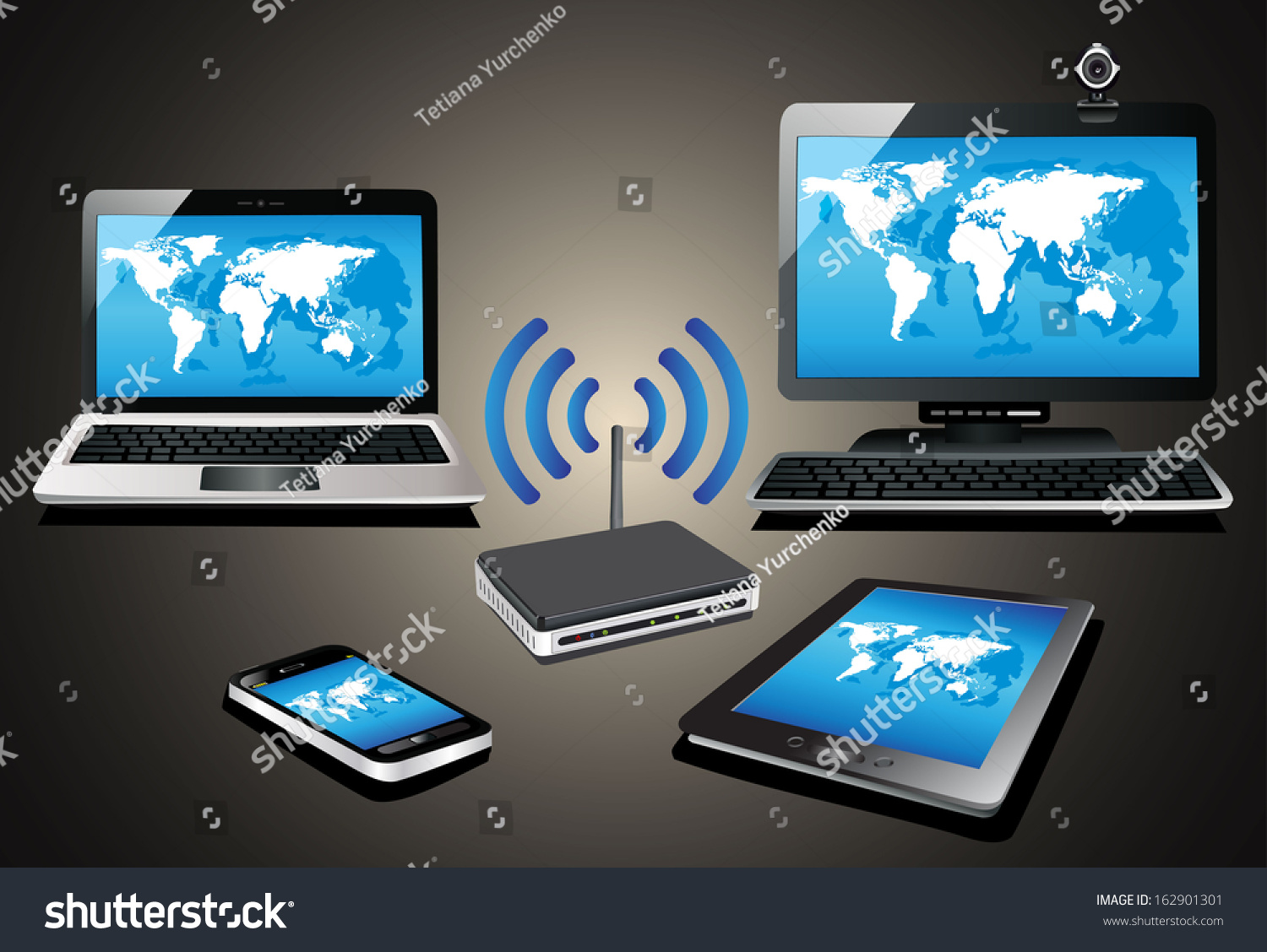 Home Wifi Network Internet Via Router Stock Vector (Royalty Free ...