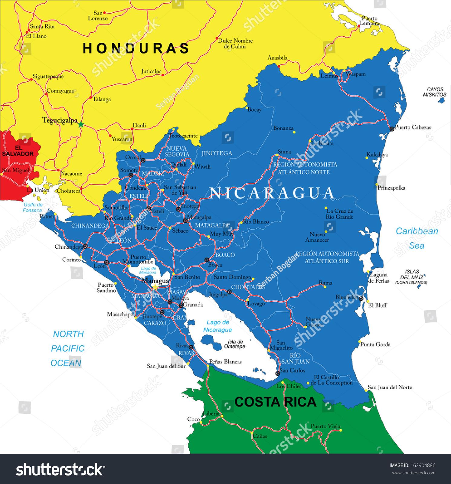 Nicaragua Map Stock Vector Shutterstock - Nicaragua map