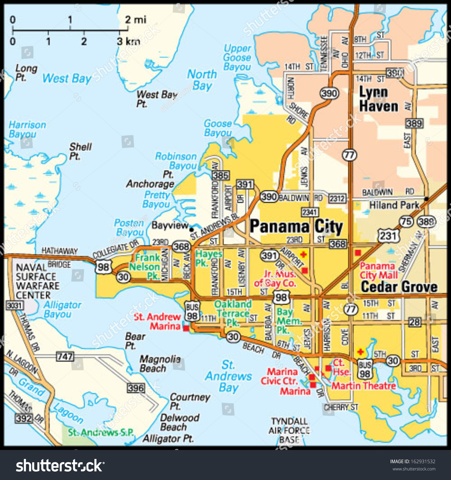 Map Of Panama City Panama City Florida Area Map Stock Vector (Royalty Free) 162931532