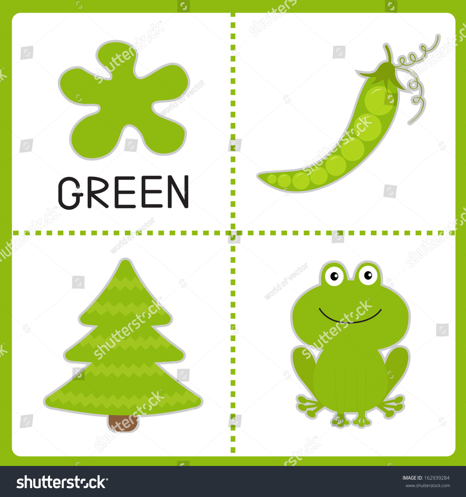 Color cards for kids - Learning Green Color Frog Green Pea And Fir Tree Educational Cards For Kids