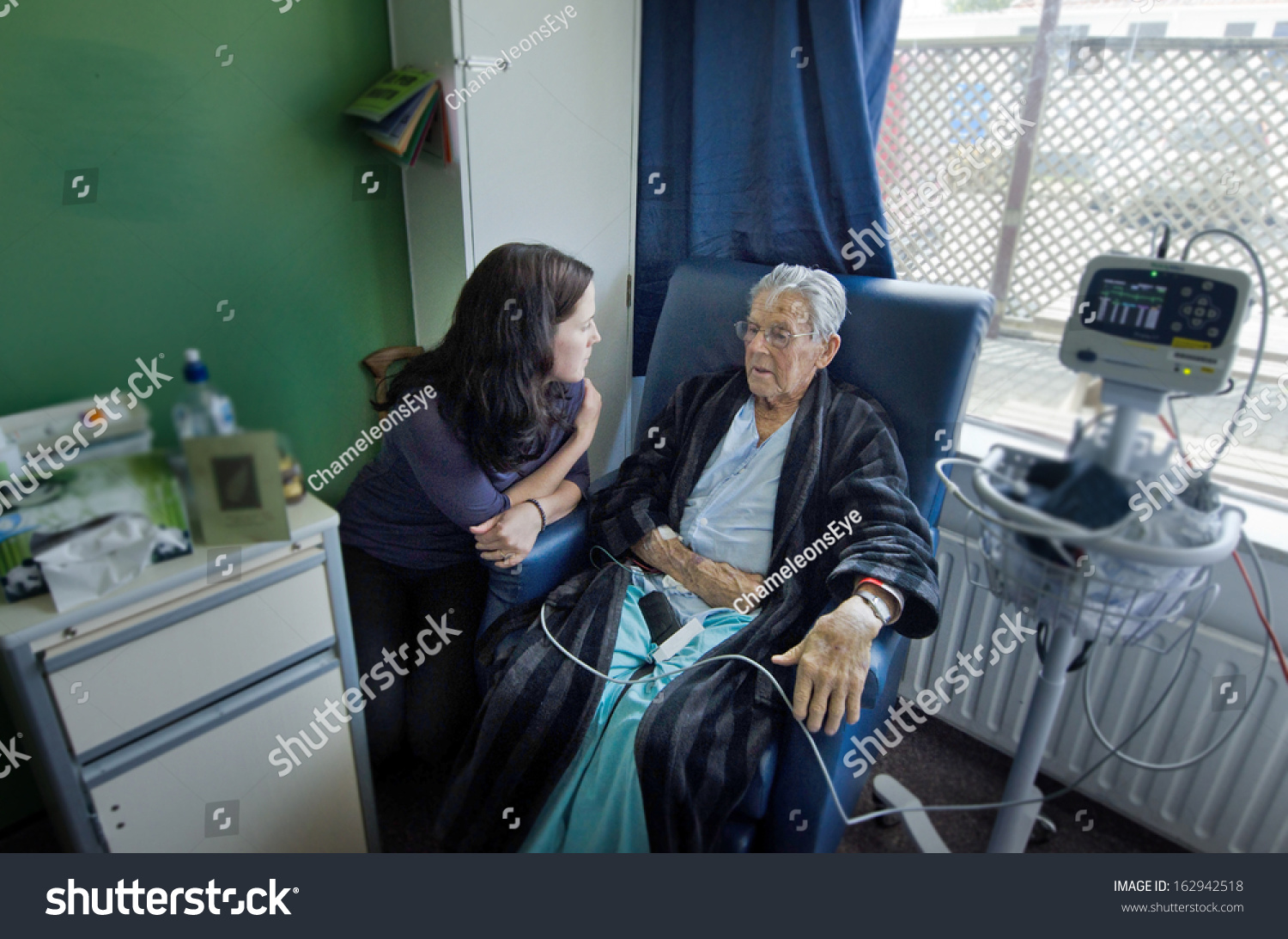 Social Worker Visit Sick Old Male Stock Photo Edit Now 162942518