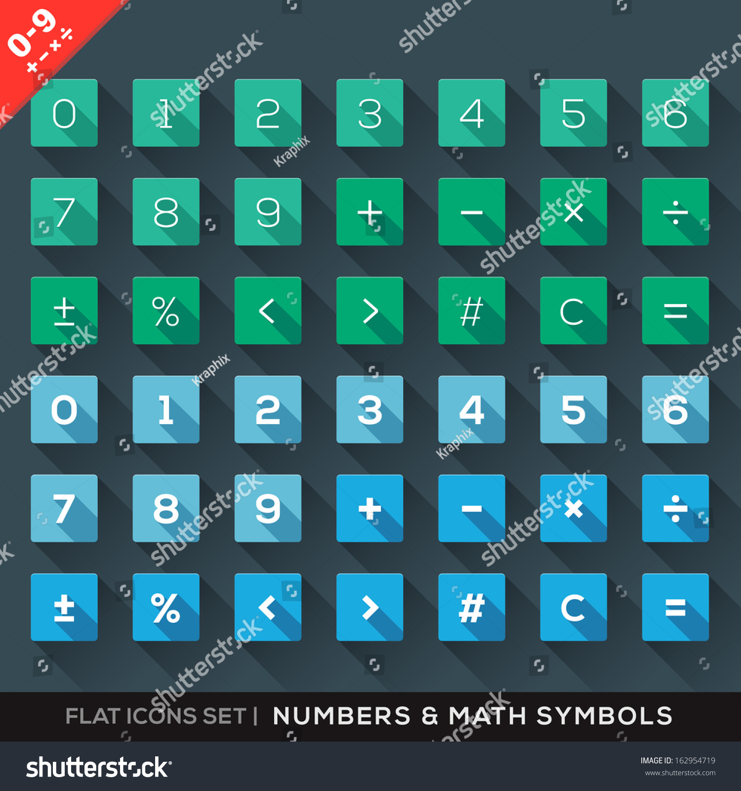 Numbers Math Symbols Flat Icons Set Stock Vector Royalty Free