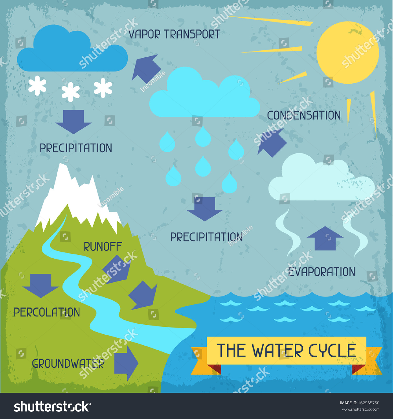 Water Cycle Poster Nature Infographics Flat Stock Vector 162965750 ...