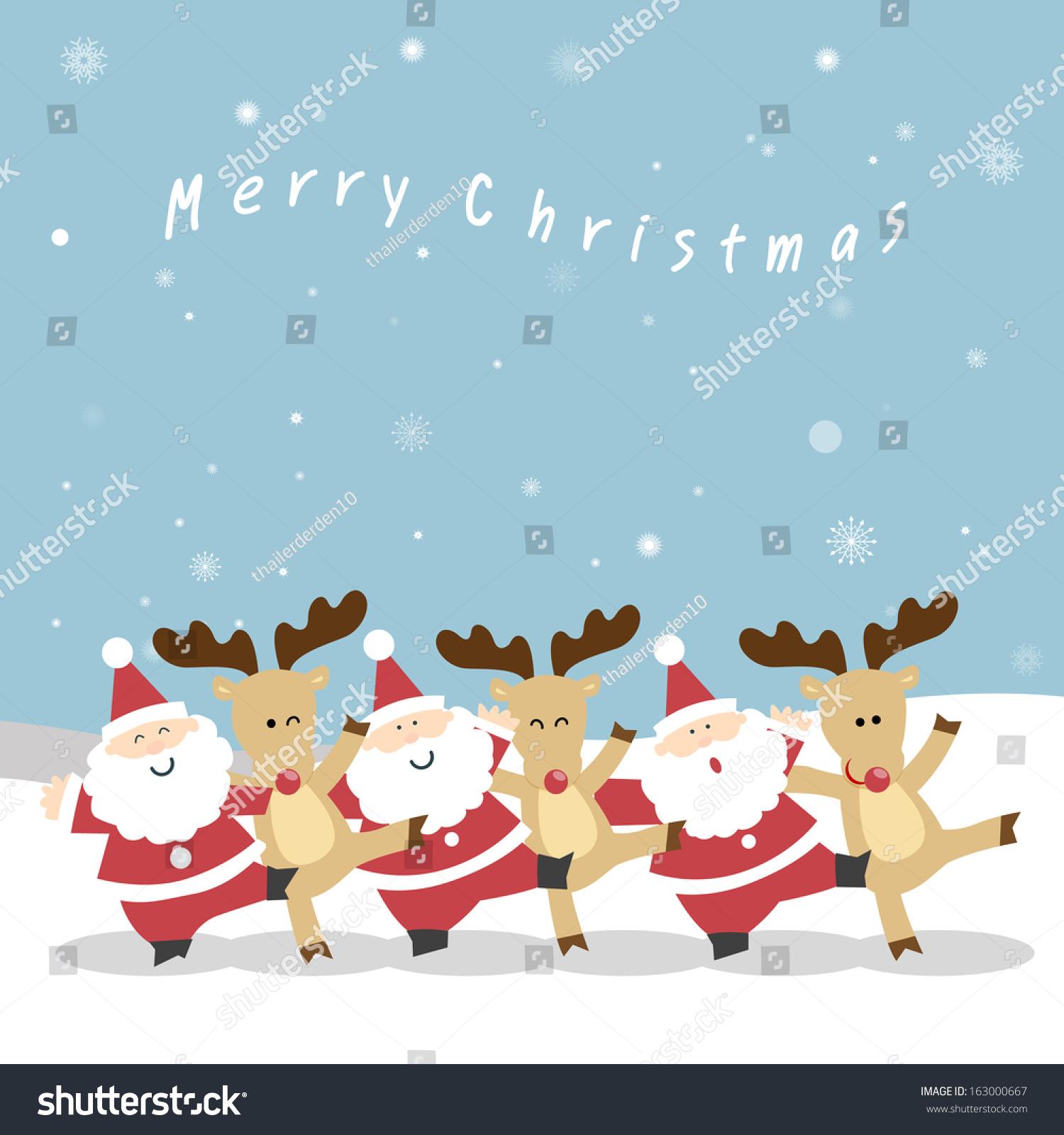 Santa Claus Reindeers Neck Playfully Dance Stock Vector ...