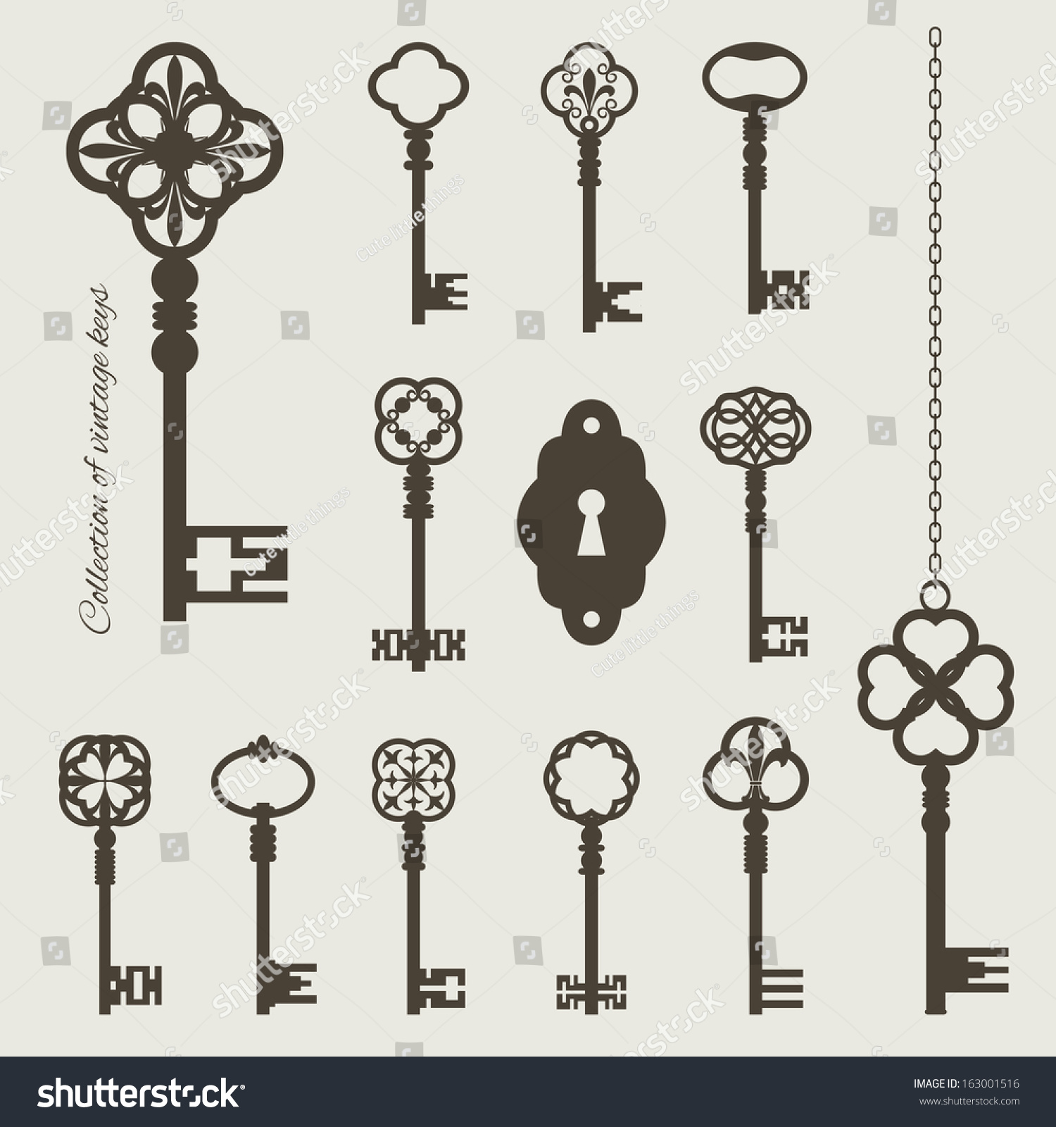 Vector Key Illustration: Collection Vintage Keys Keyhole Isolated On Stock Vector