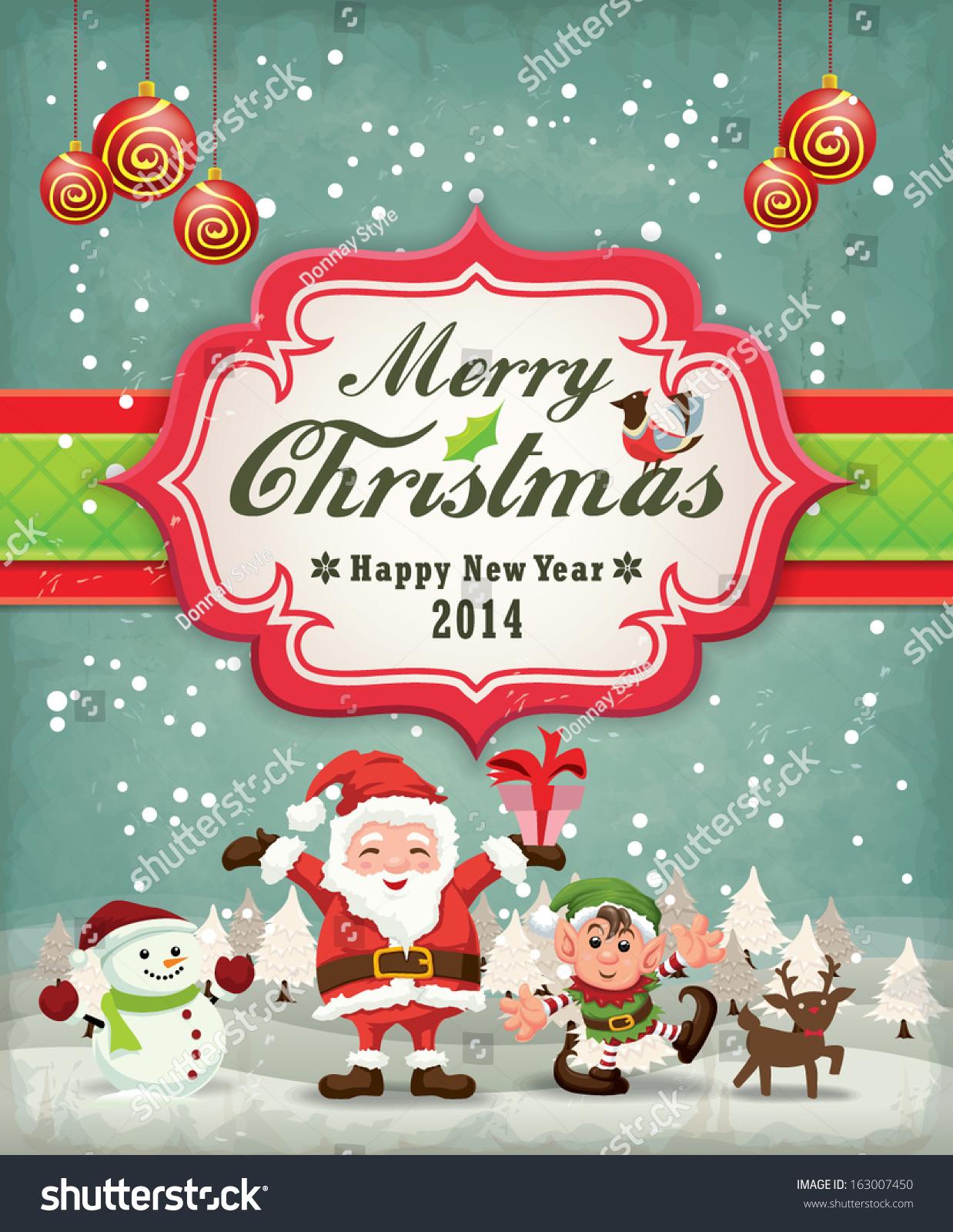Xmas poster design - Vintage Christmas Poster Design With Santa Claus