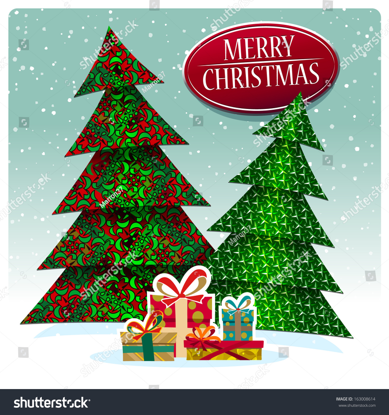 Two stylized christmas trees gifts stock vector