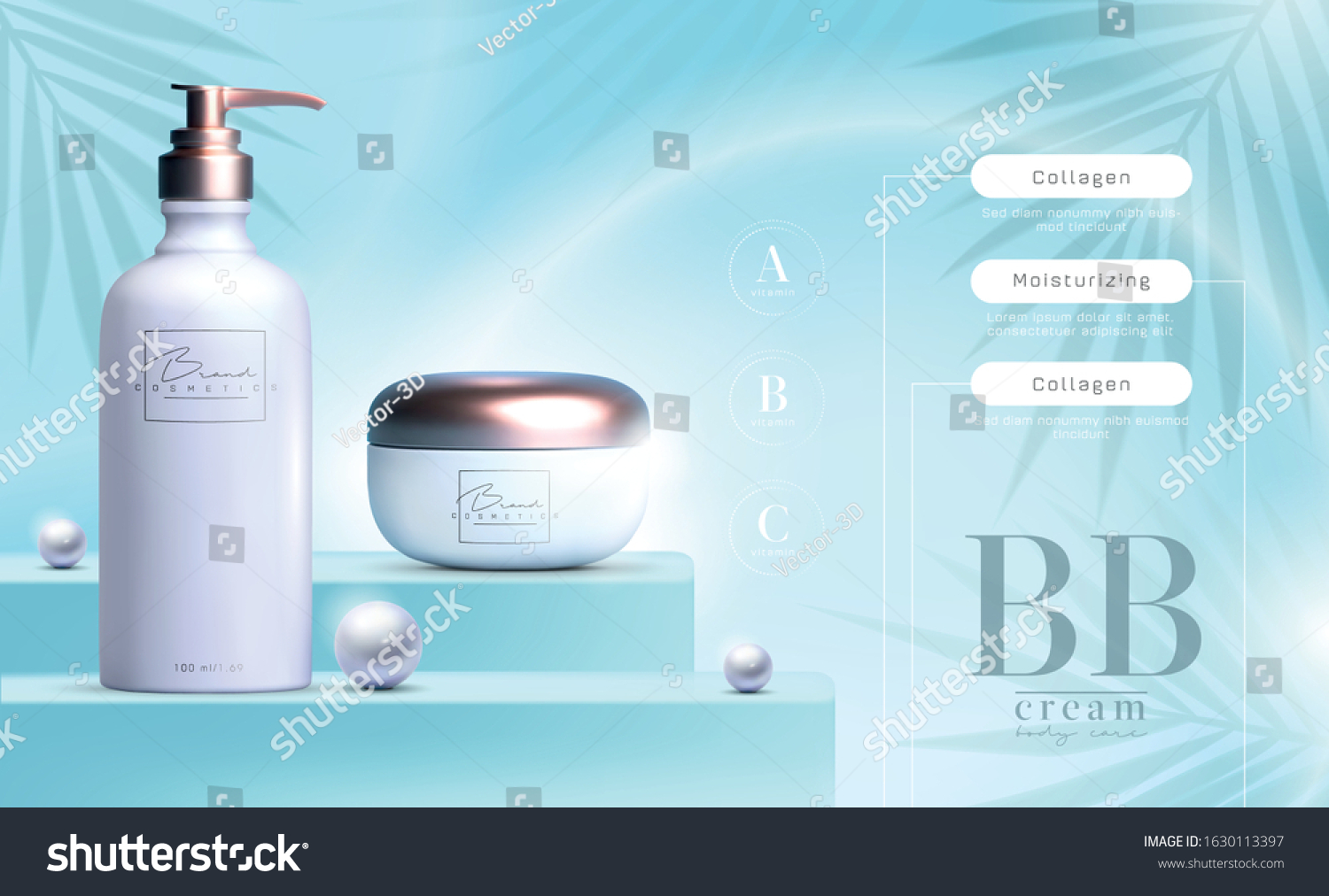 Vector 3d Elegant Cosmetic Products Background Stock Vector Royalty Free 1630113397
