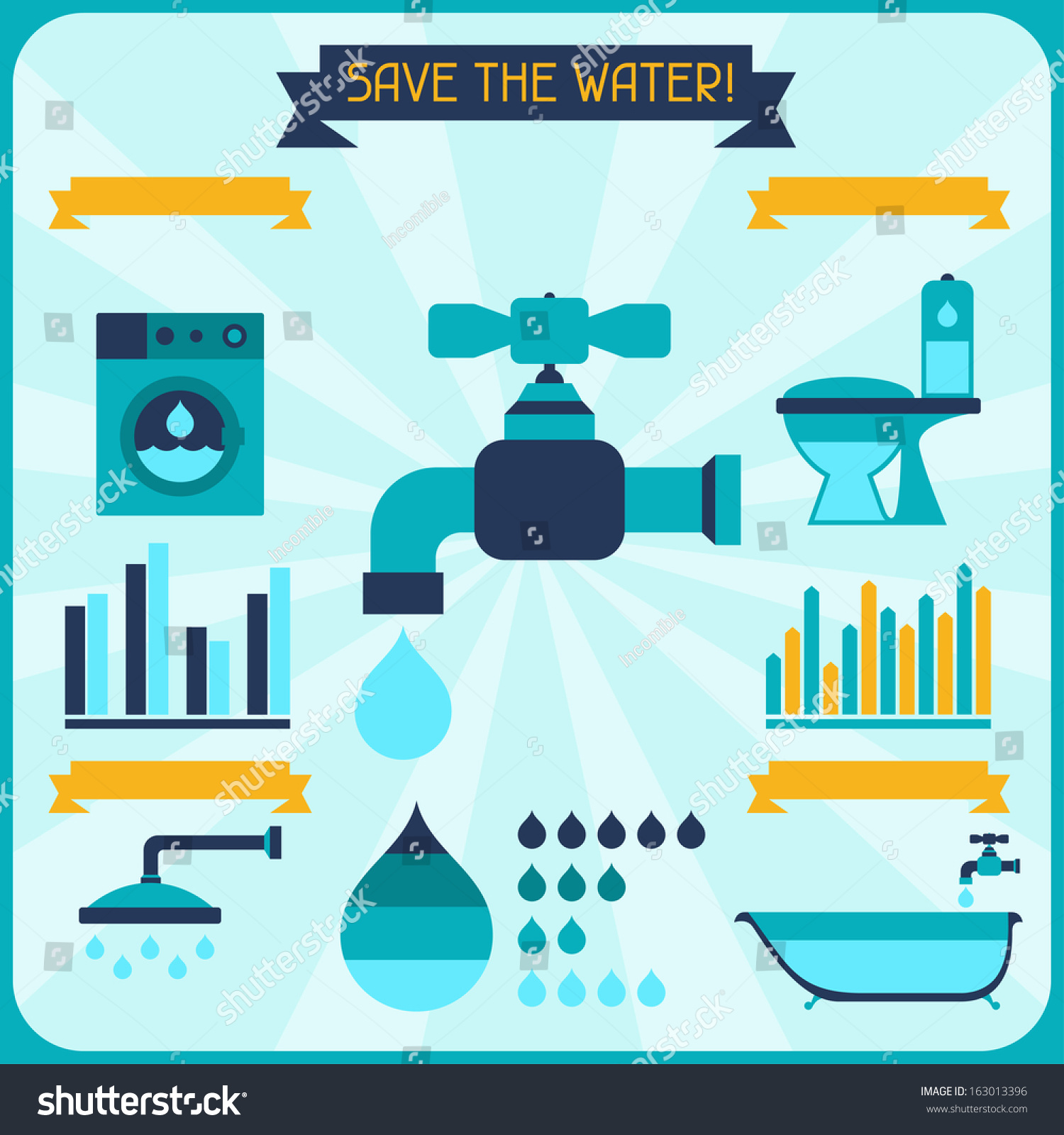 Save Water Poster Infographics Flat Style Stock Vector