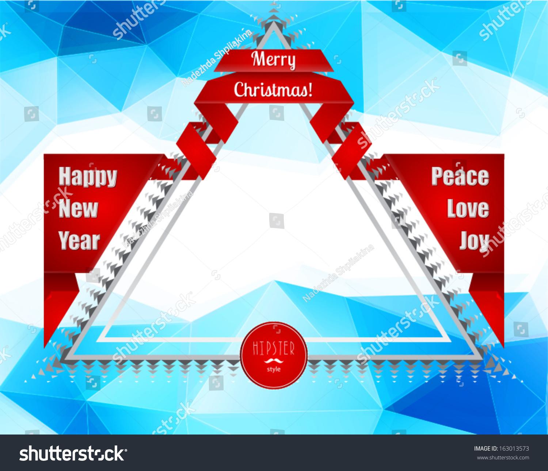 modern christmas new year poster blue geometric pattern xmas border gift bows