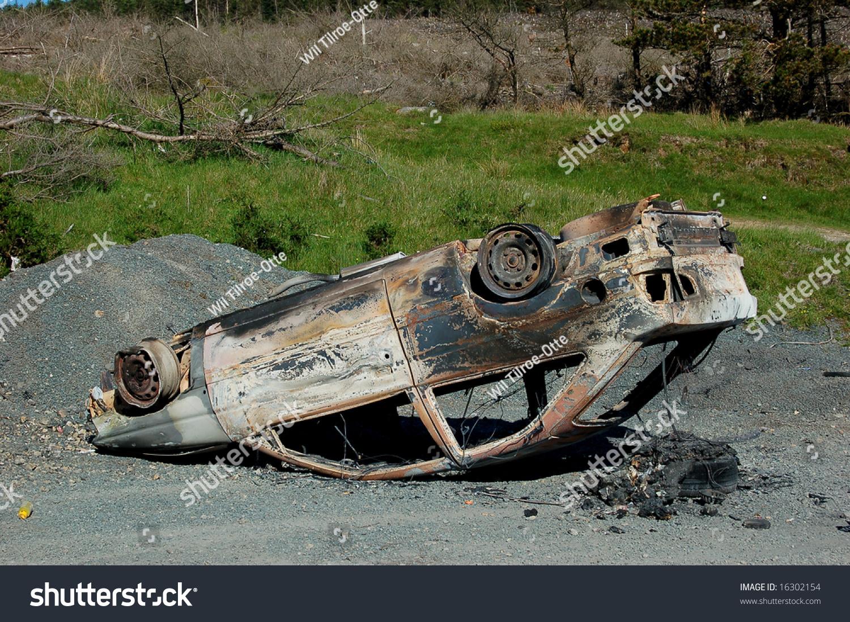 upside down burned out car stock photo 16302154 shutterstock. Black Bedroom Furniture Sets. Home Design Ideas