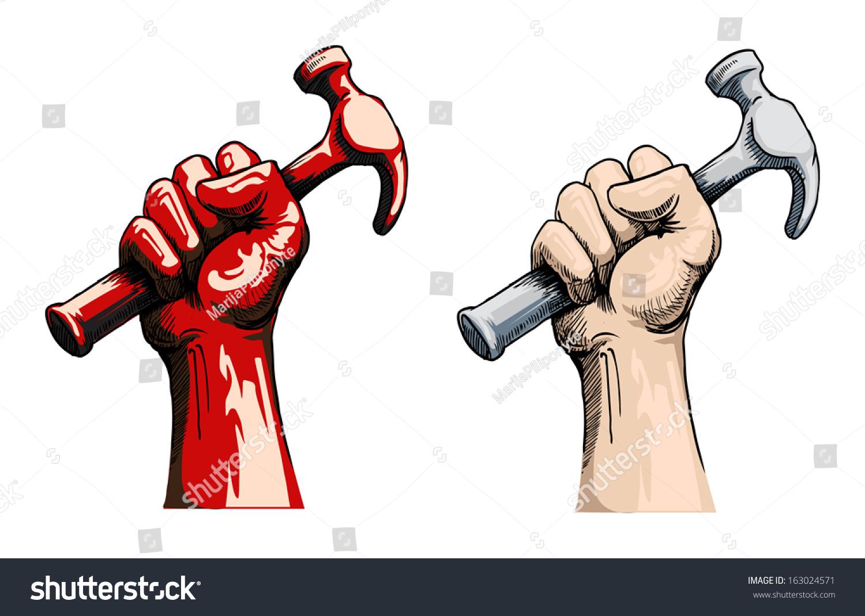 Vector Illustration Hammer: Fist Holding A Hammer, Vector Illustration