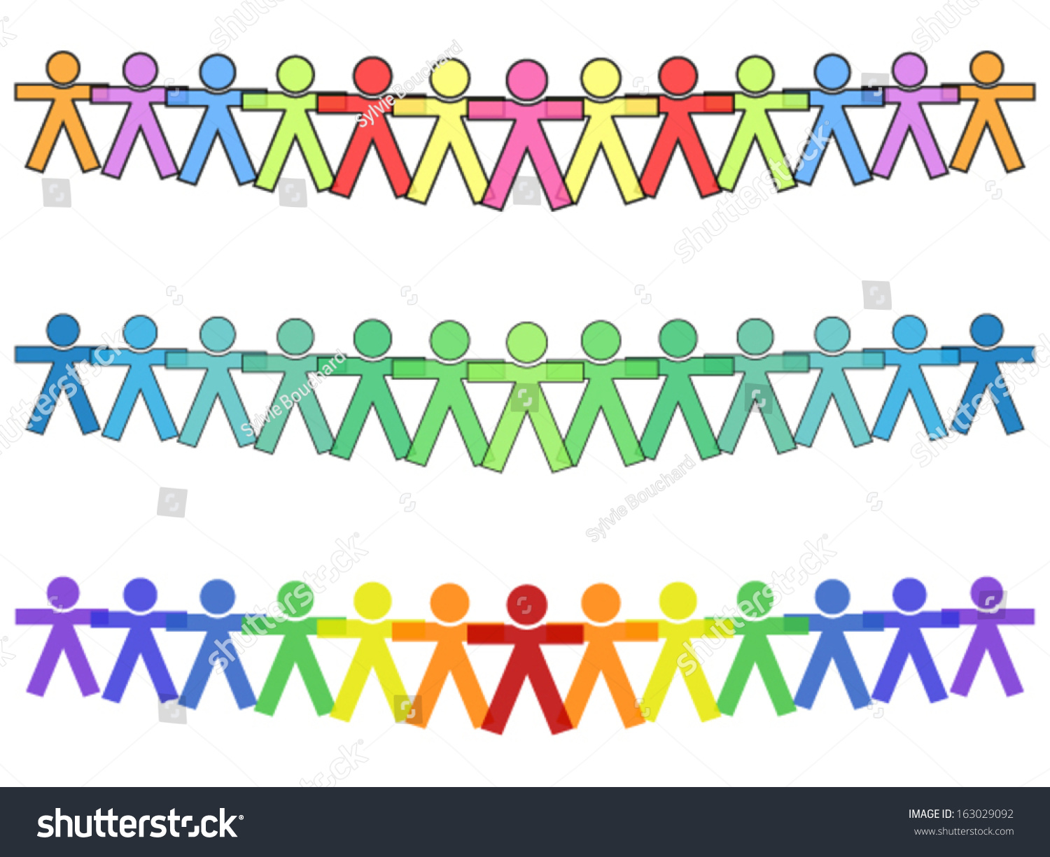 United People Icons Silhouettes Colors Holding Stock