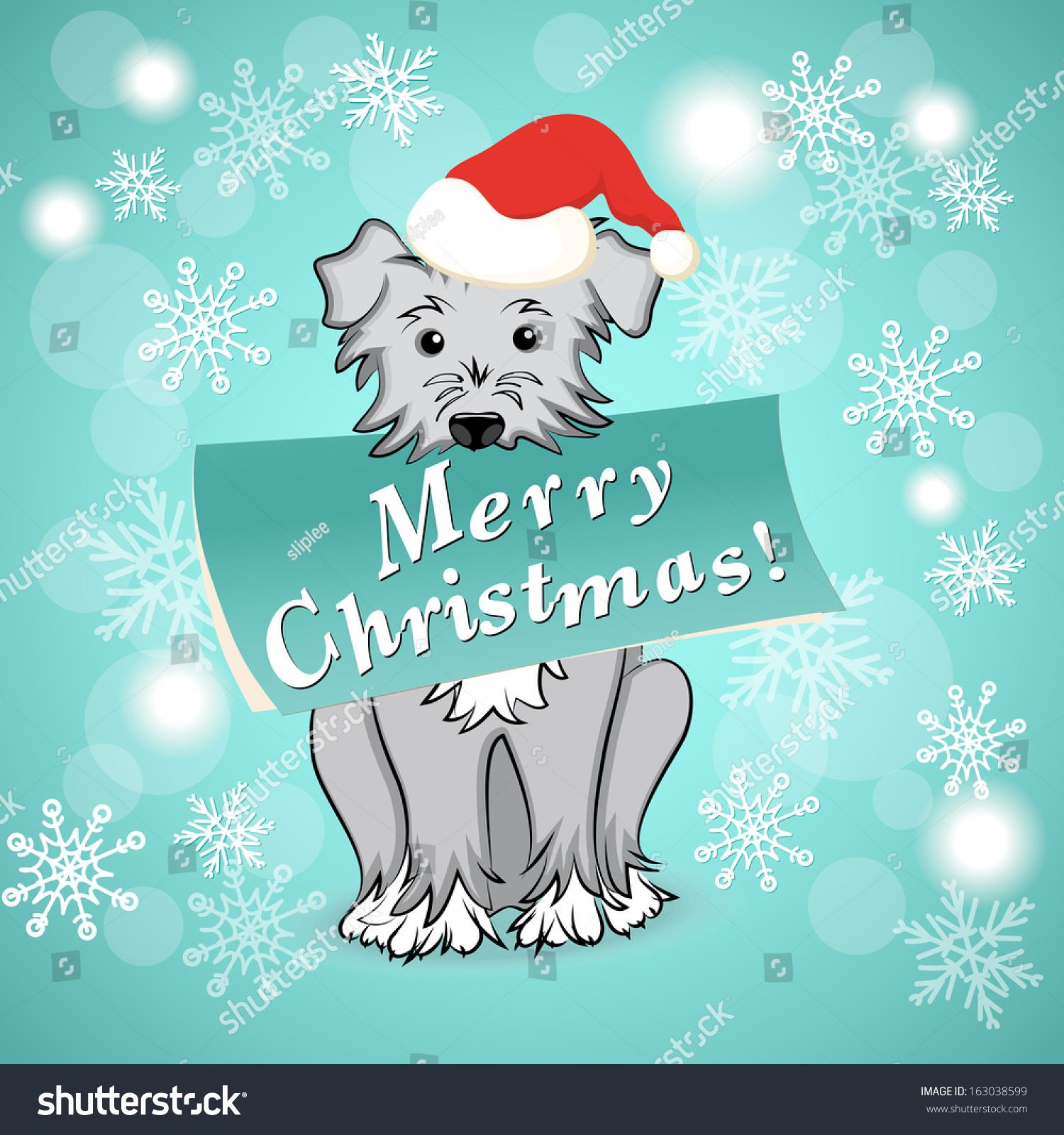 Vector Illustration Christmas Card Cartoon Dog Stock Vector (Royalty ...