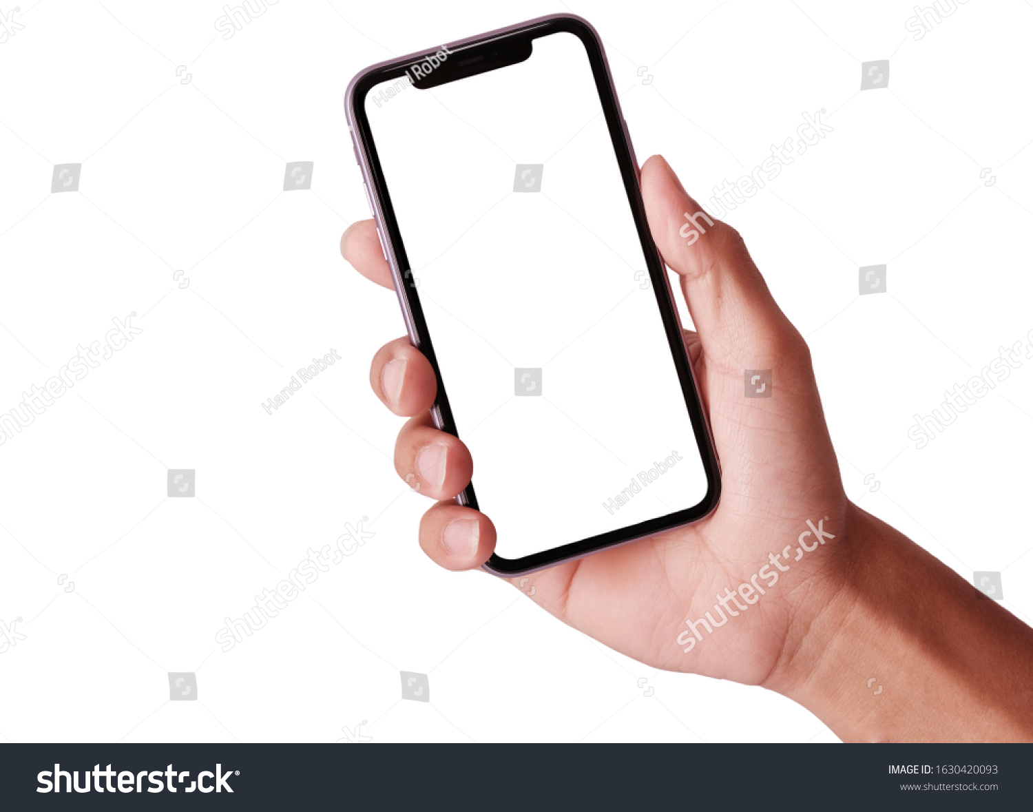 Bangkok, Thailand - JAN 20, 2019: Studio shot of Hand holding Smartphone iPhone 11 Pro Max and Show space white screen for mobile Phone your web site design, logo, app - include clipping path. #1630420093