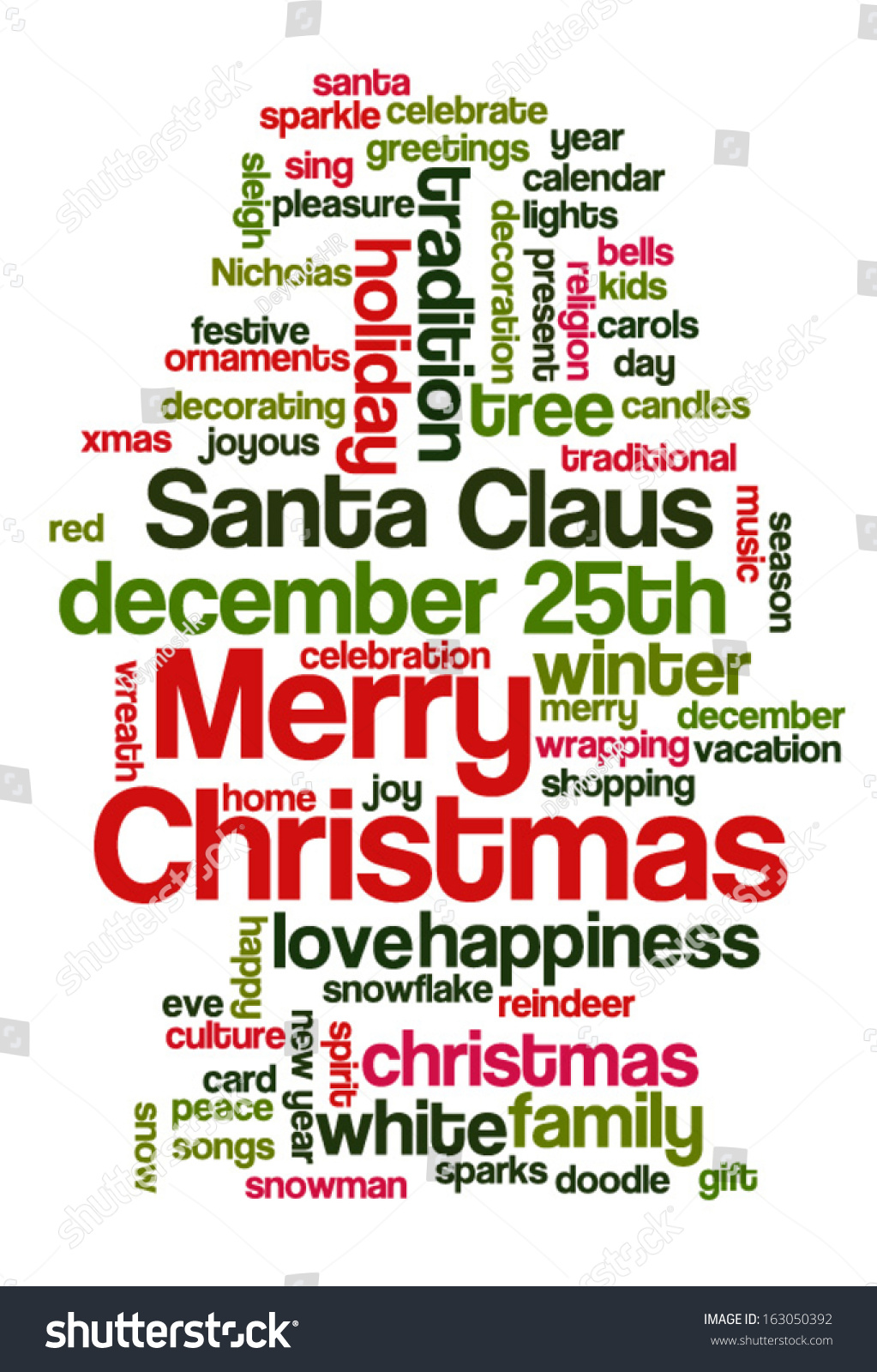 Conceptual Tag Cloud Words Related Christmas Stock Vector ...
