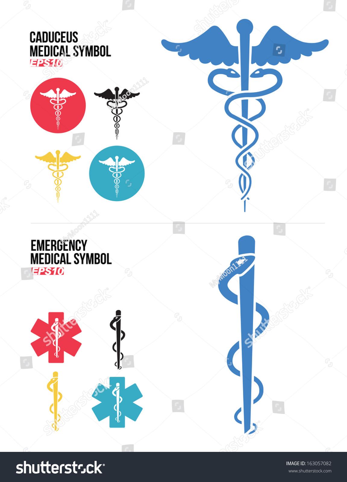 Caduceus Medical Emergency Medical Symbols Icons Stock Vector