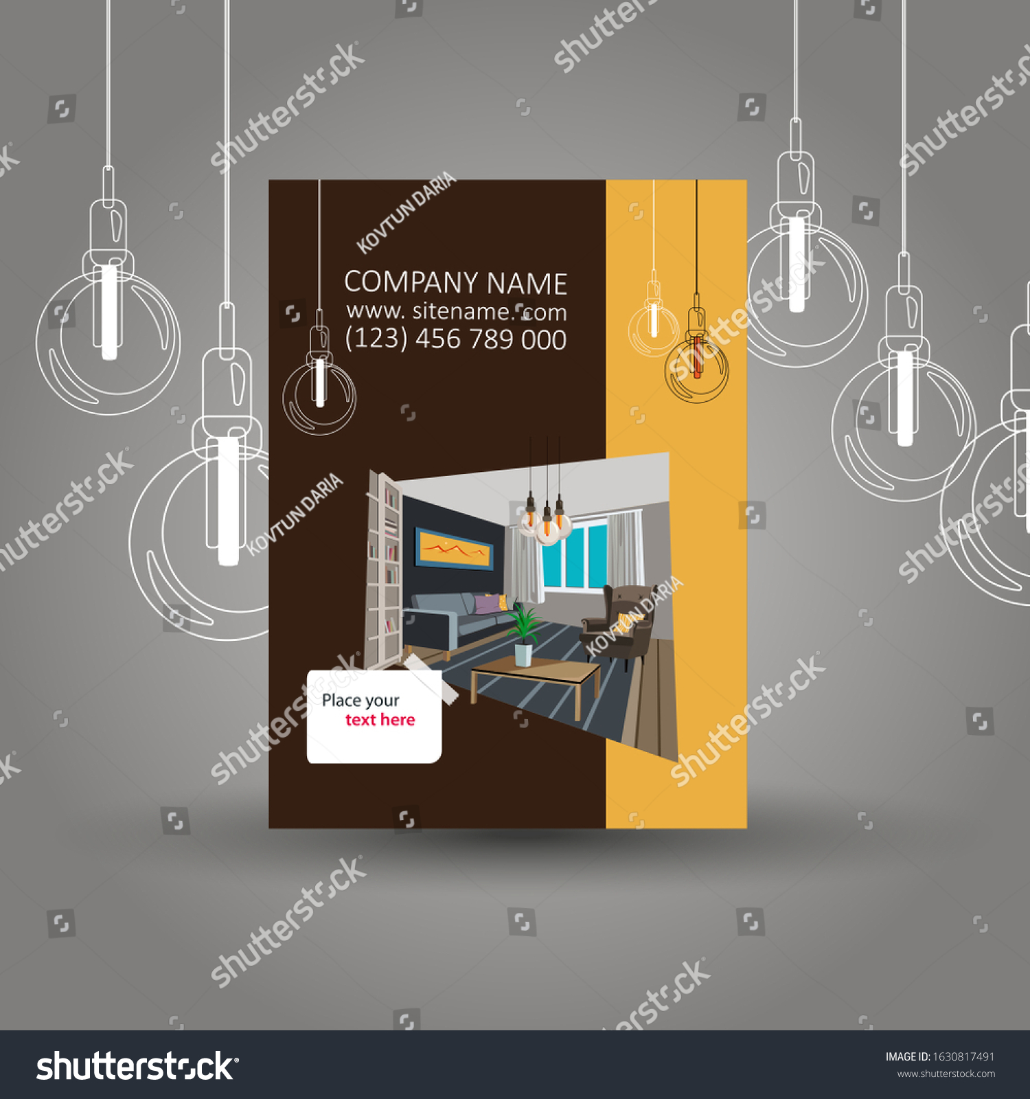 Interior Furniture Designer Business Card Template Stock Vector Royalty Free 1630817491