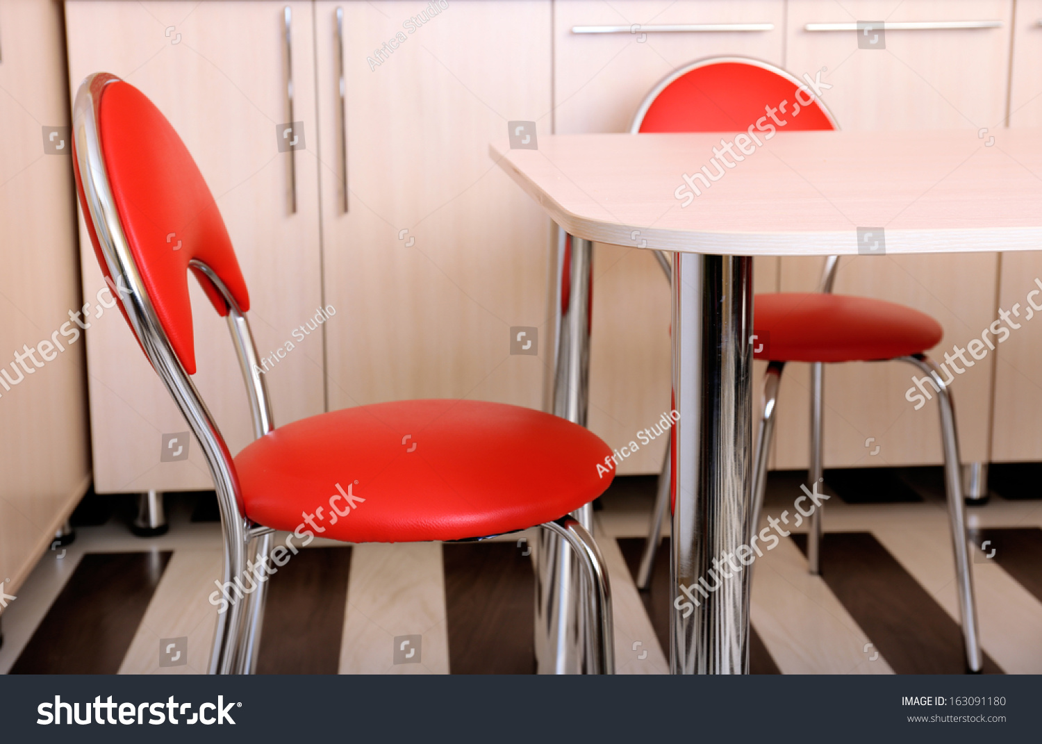 Modern Red Chairs Near Table Kitchen Stock Photo 163091180