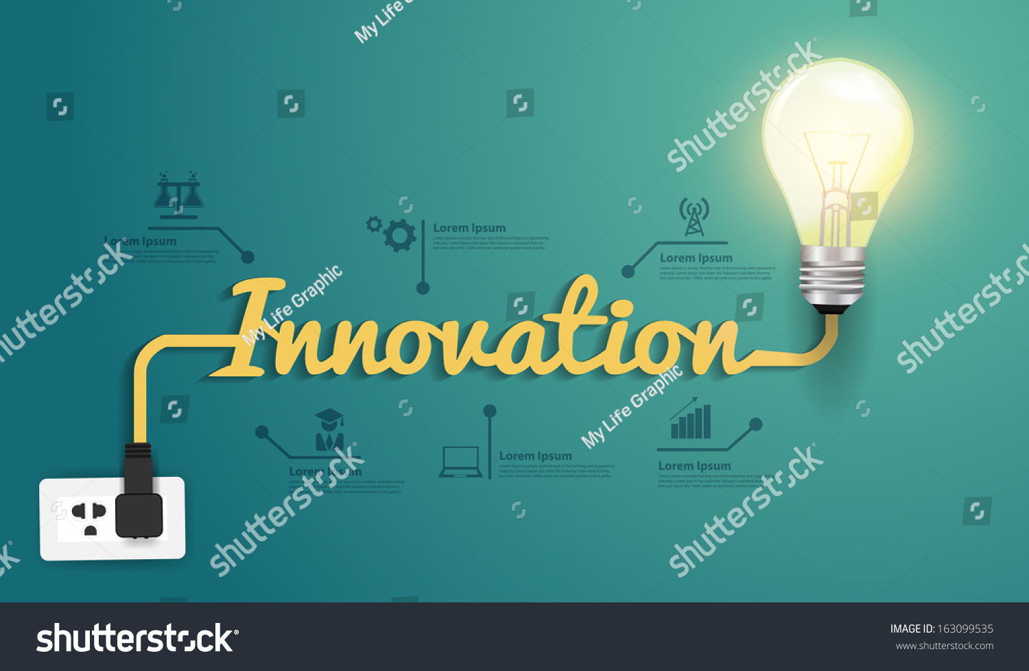 Innovation Concept Creative Light Bulb Idea Stock Vector Royalty Diagram Of Incandescent Abstract Infographic Workflow Layout Step Up