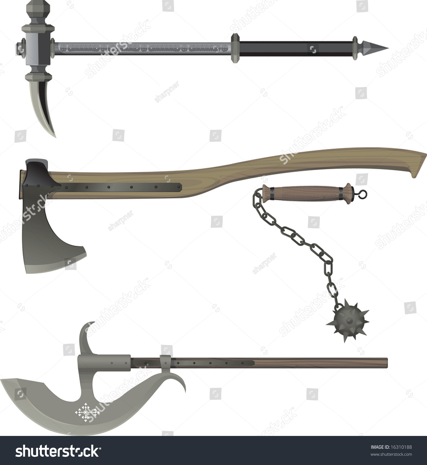 Medieval Weapons Battle Hammer Axe Bludgeon Stock Vector ...