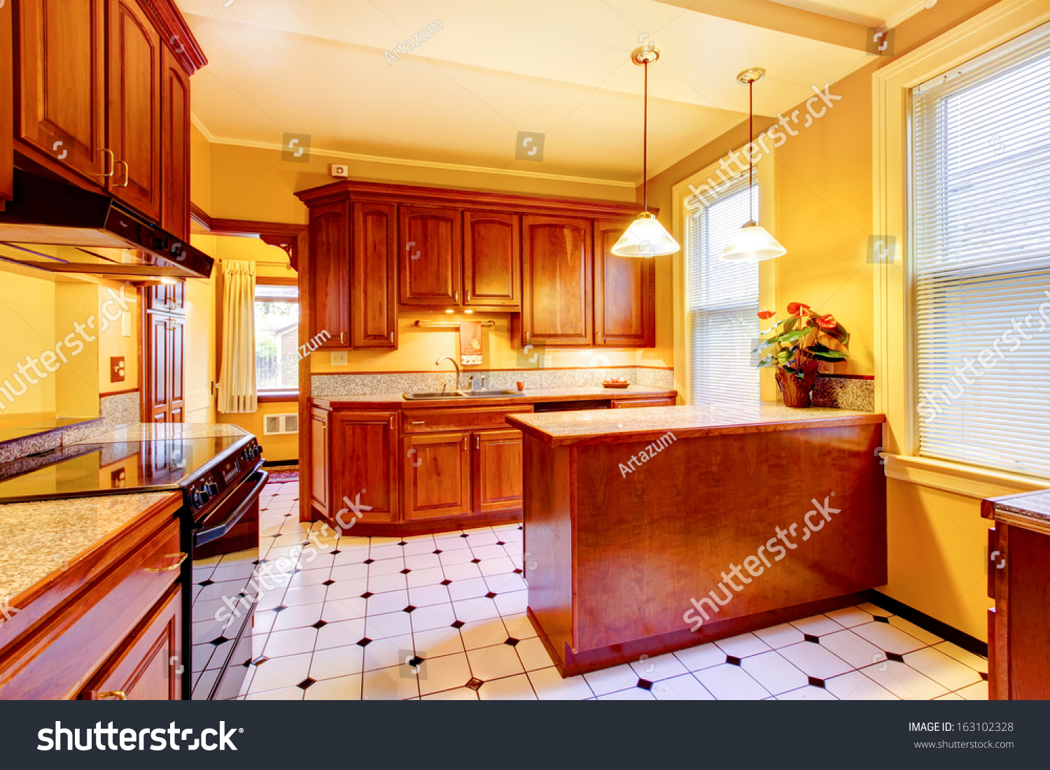 Wood Kitchen With Yellow Walls Old American Craftsman Style Home Lots Of Details