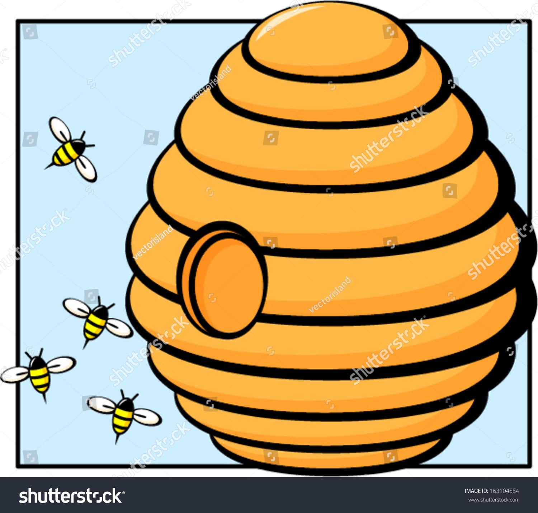 beehive with bees stock vector 163104584 shutterstock free download clip art beehive Golden Bee Clip Art Free